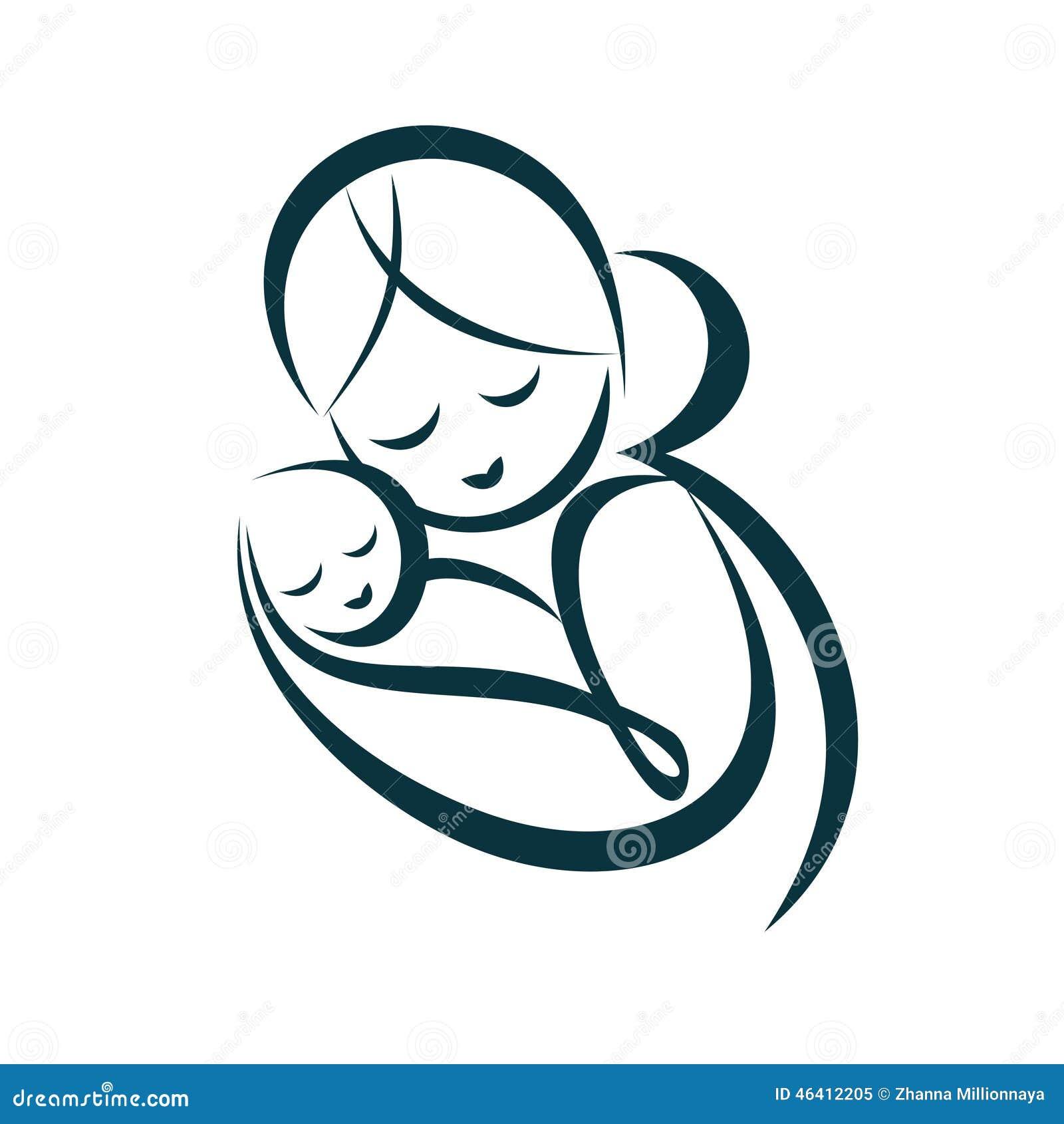La mamá joven abraza a su bebé