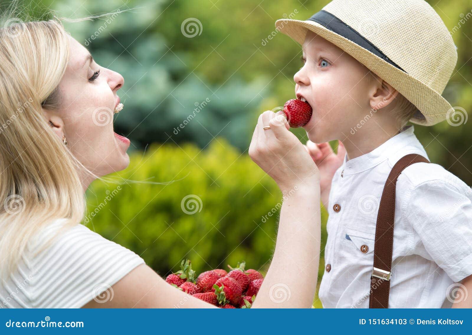 La maman incite le fils ? manger de petites fraises parfum?es m?res