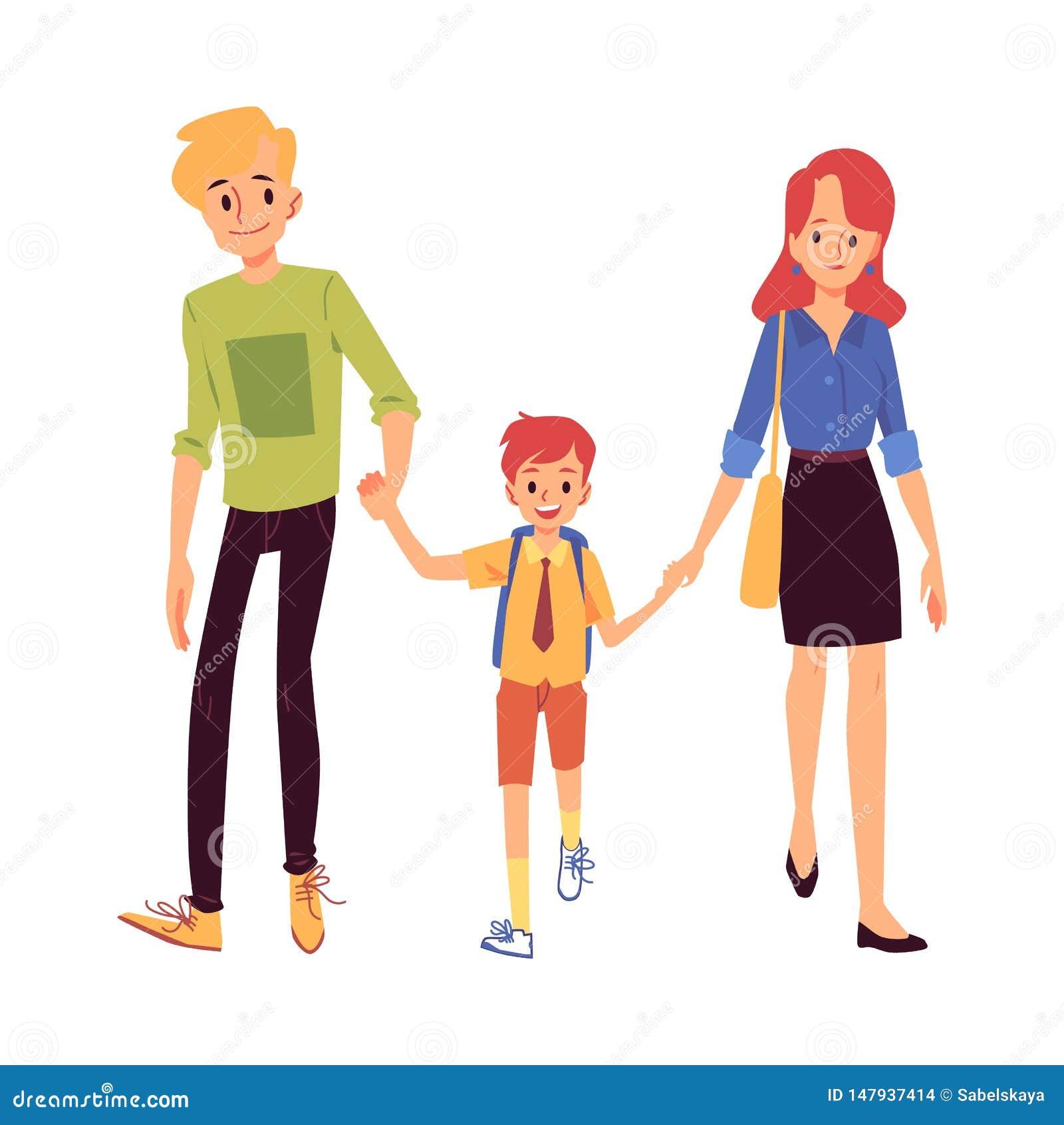 La mamma ed il papà o i genitori conducono suo figlio all illustrazione piana di vettore della scuola isolata