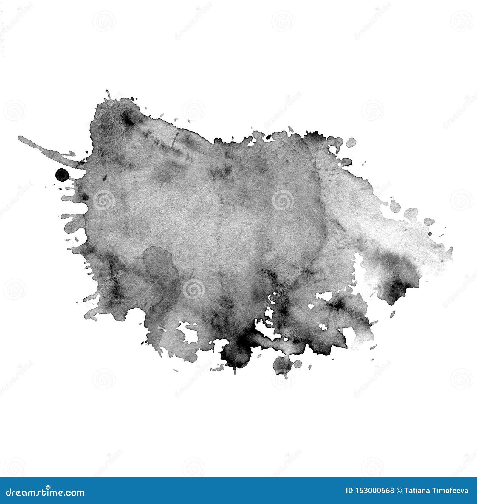 La mancha de la acuarela del gris con salpica