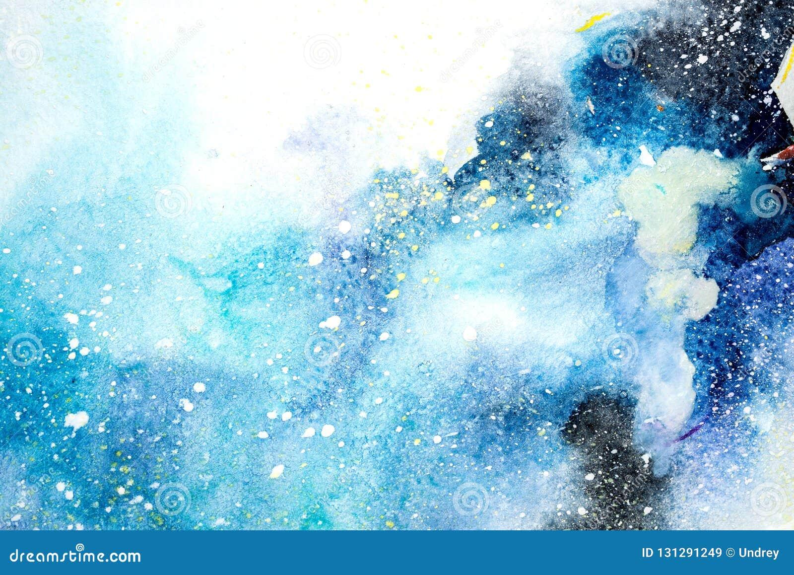 La mancha púrpura rosada azul de la acuarela gotea gotas Ejemplo abstracto del watercolour