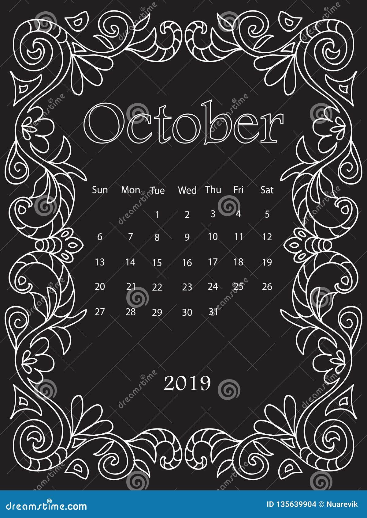 Calendario Dibujo Blanco Y Negro.La Mandala Blanca Del Dibujo De Tiza Garabatea El Calendario