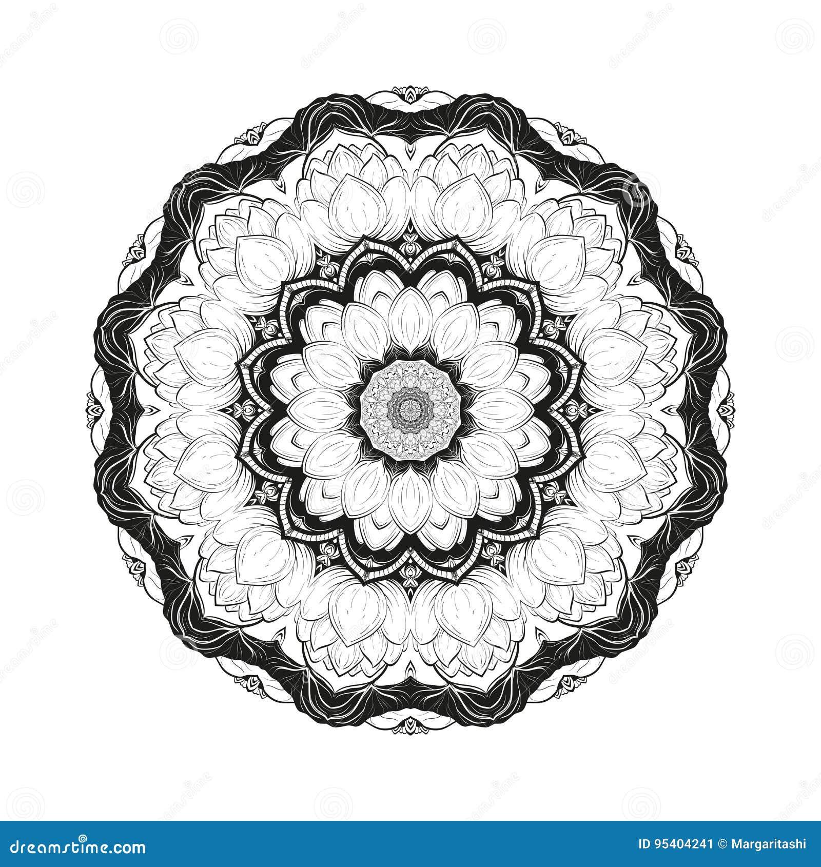 La Mandala Botánica Monocromática Del Vector De La Flor Con El Loto ...