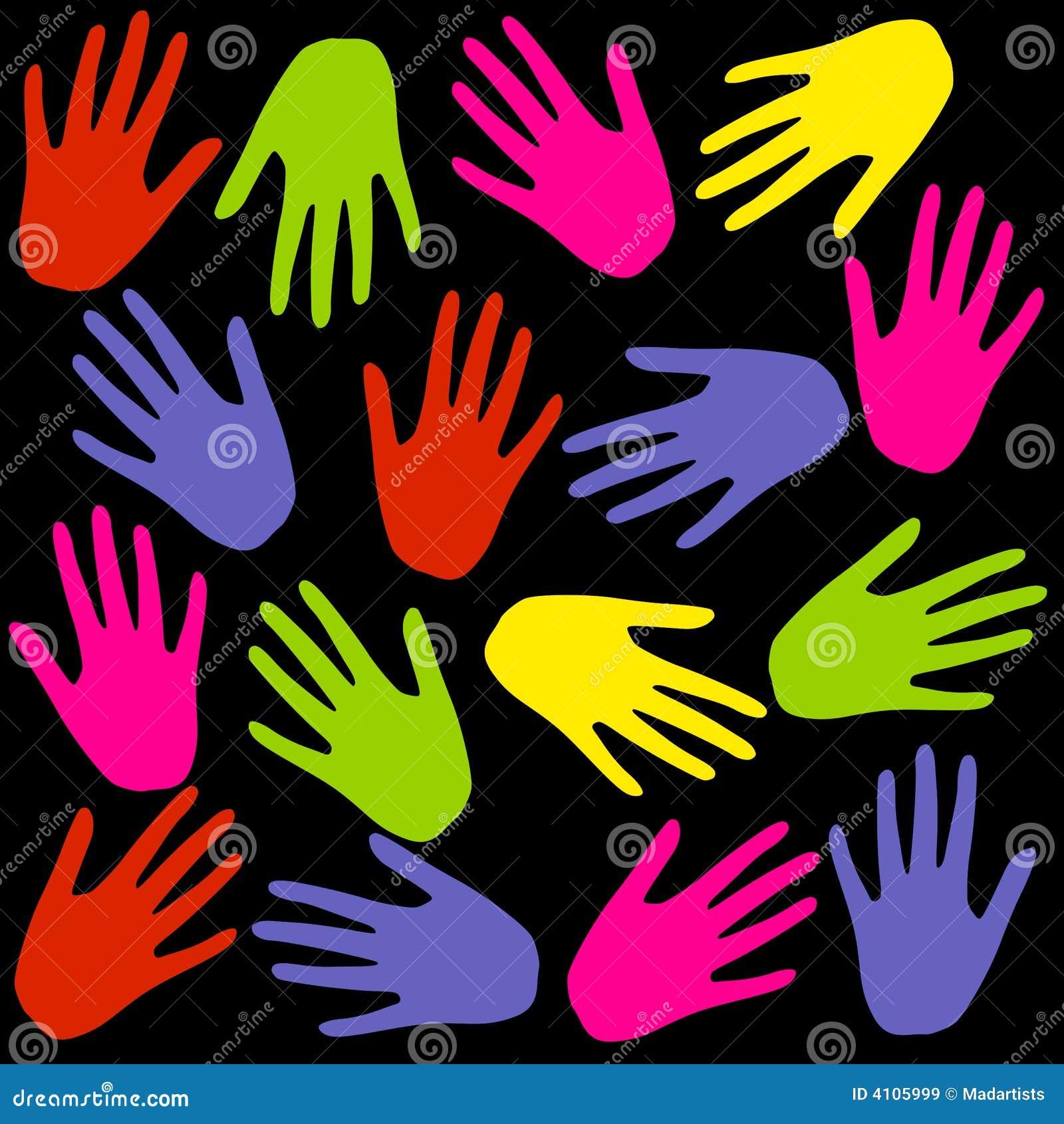 La mano Colourful stampa la priorità bassa sul nero