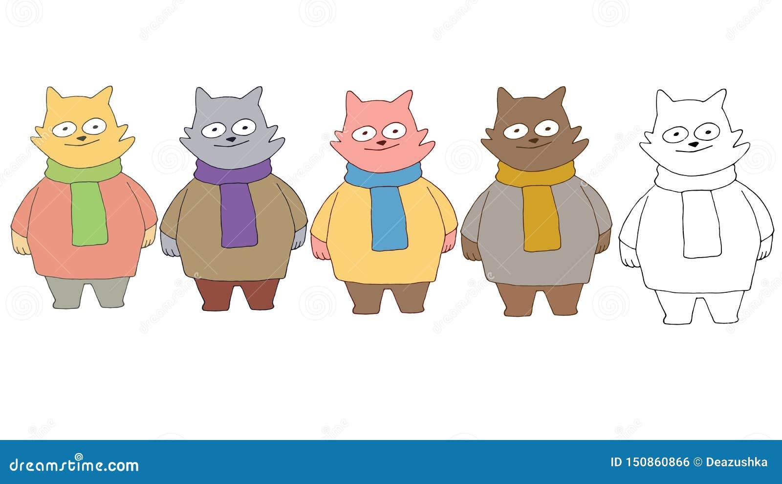 La mano del monstruo del gato del sistema de color del garabato de la historieta de la impresión dibuja feliz