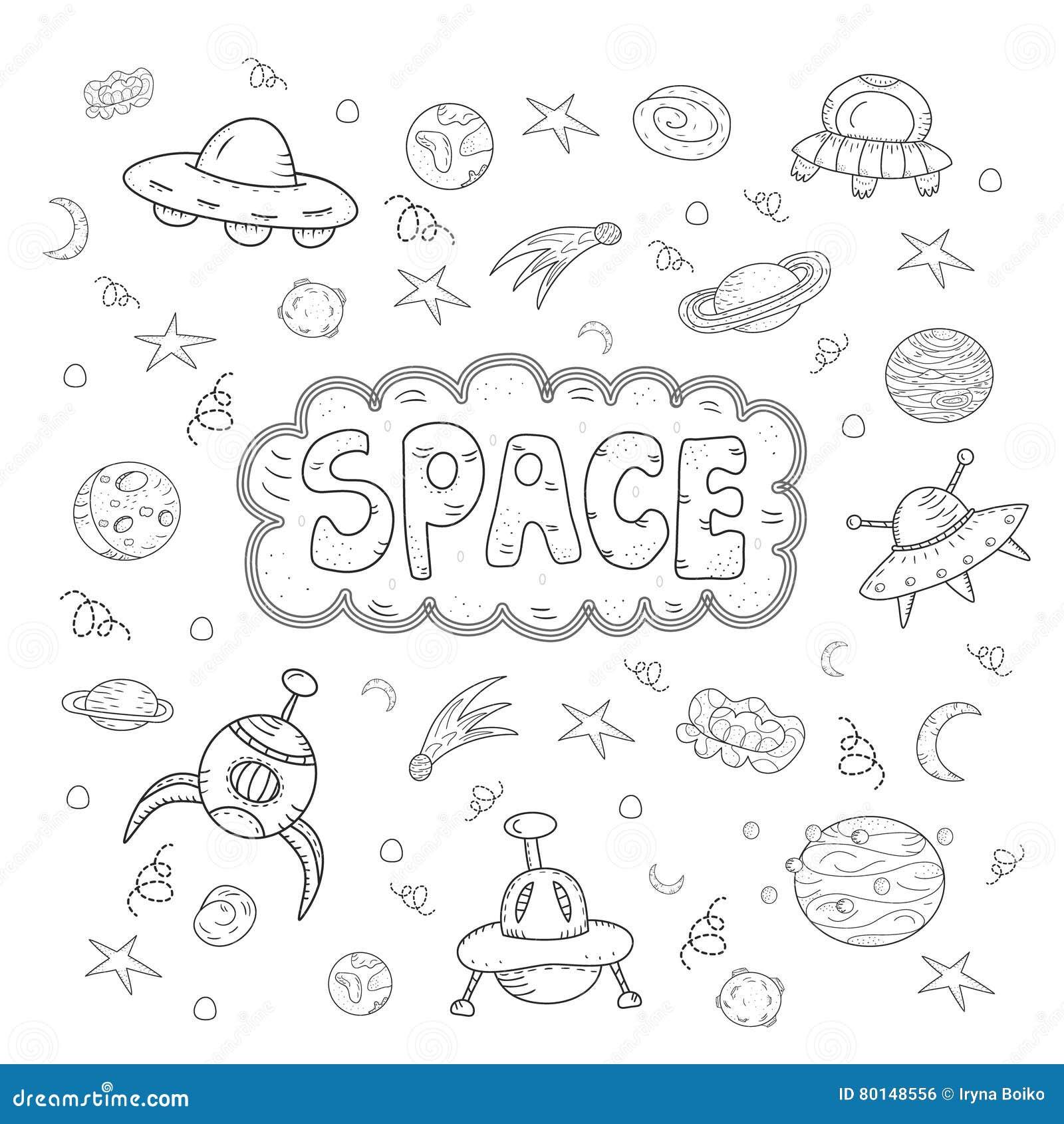 La mano del vector del contorno dibujada garabatea el sistema de la historieta de objetos y de símbolos del espacio