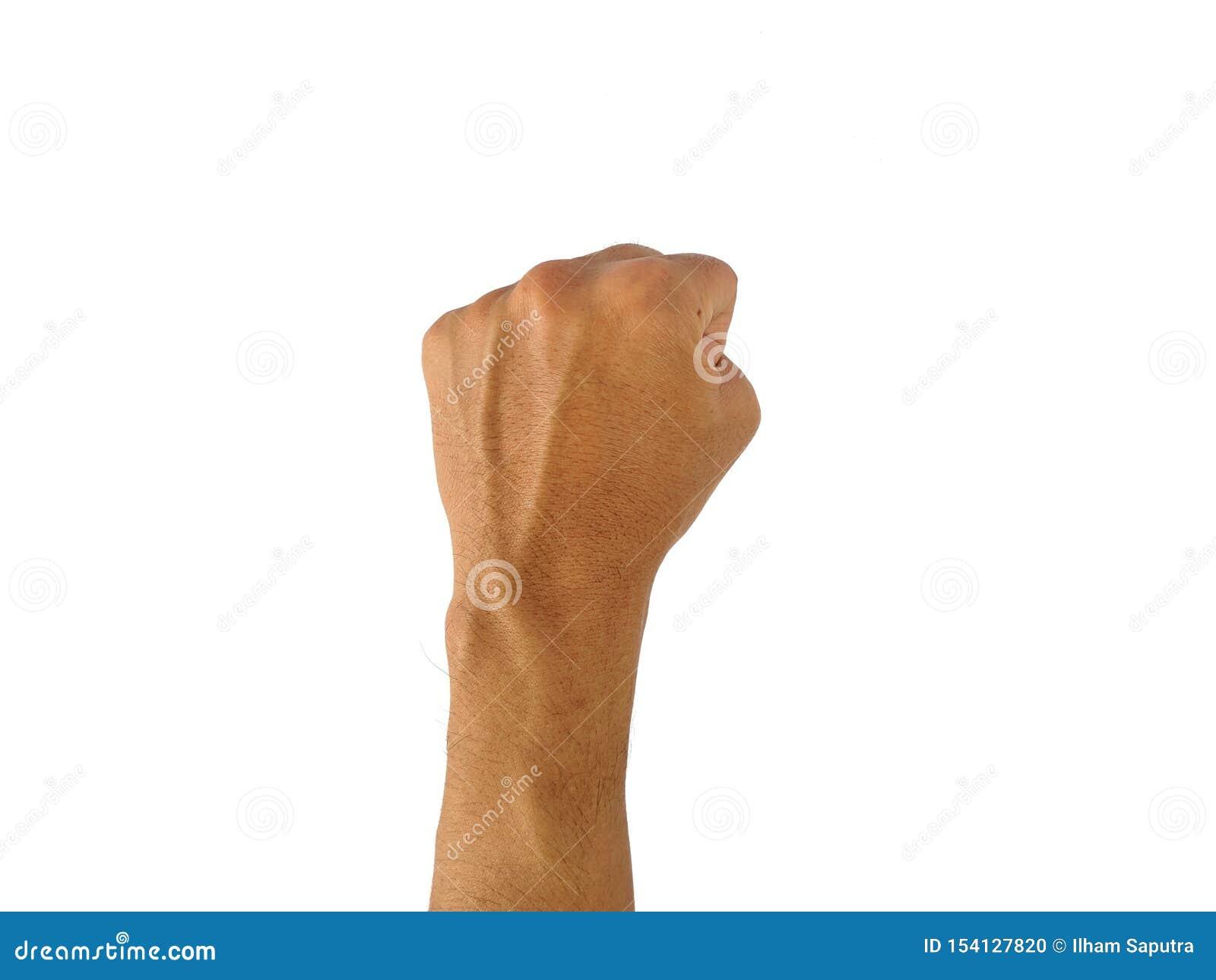 La mano di un uomo con un simbolo su fondo bianco