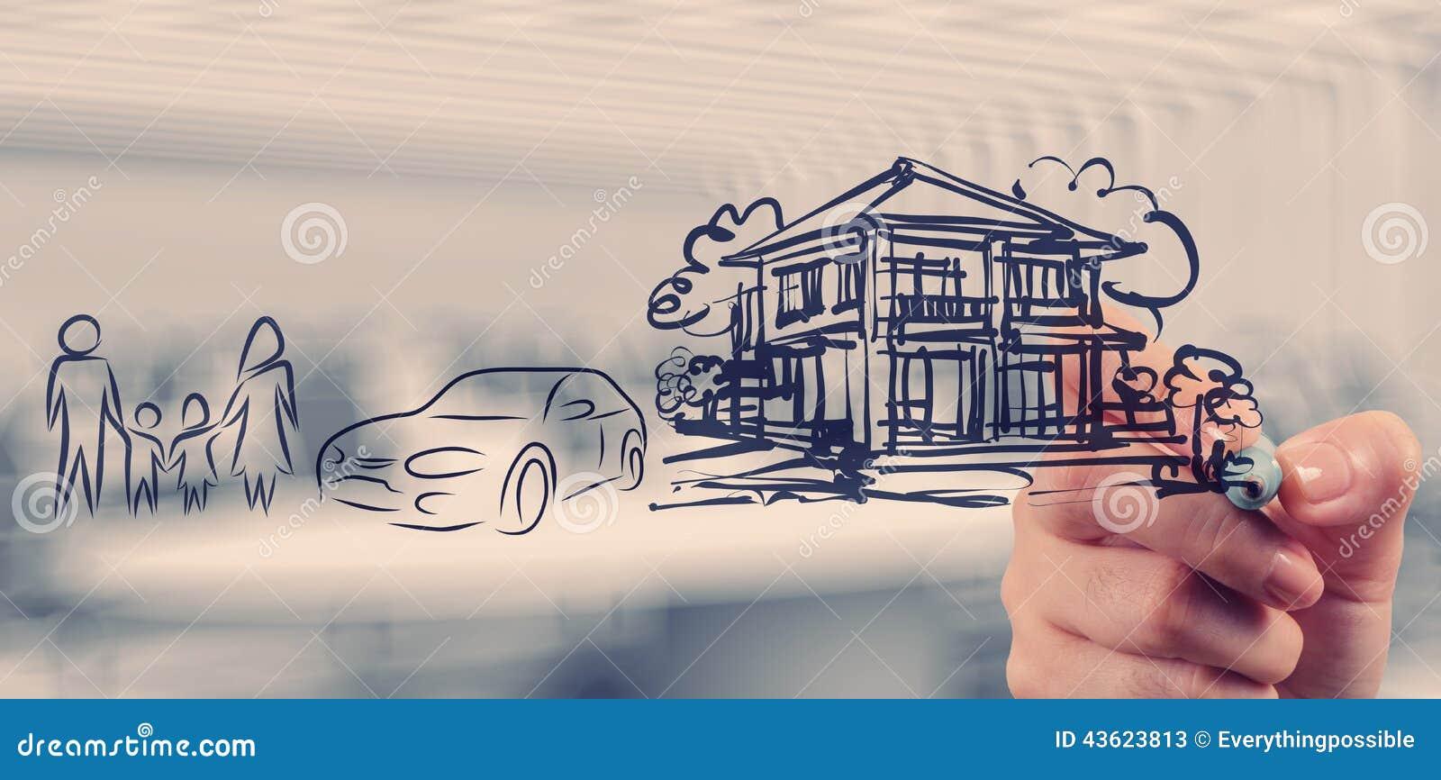 La mano dibuja futuro de la familia del planeamiento