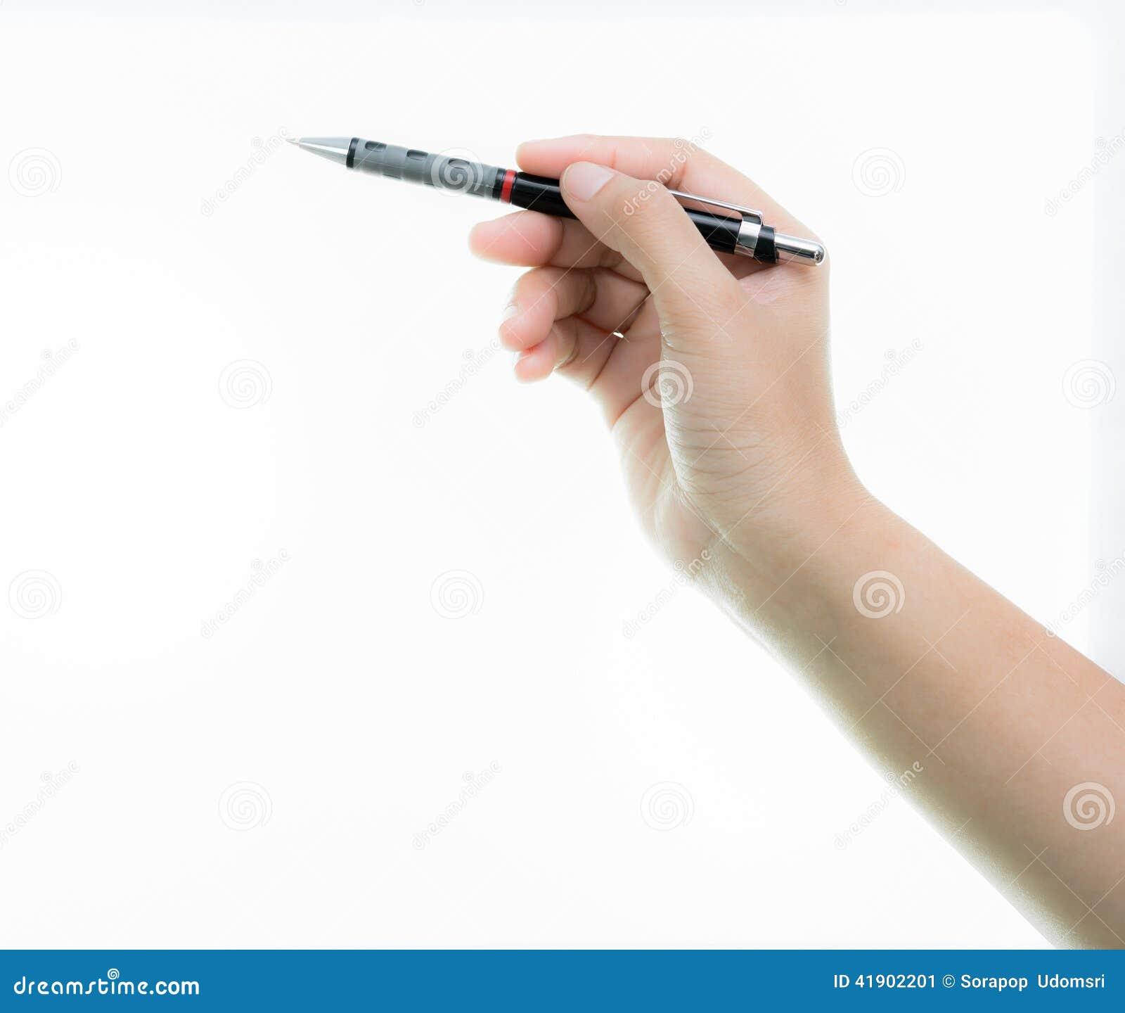 La mano es pluma negra del control lista para dibujar aislada