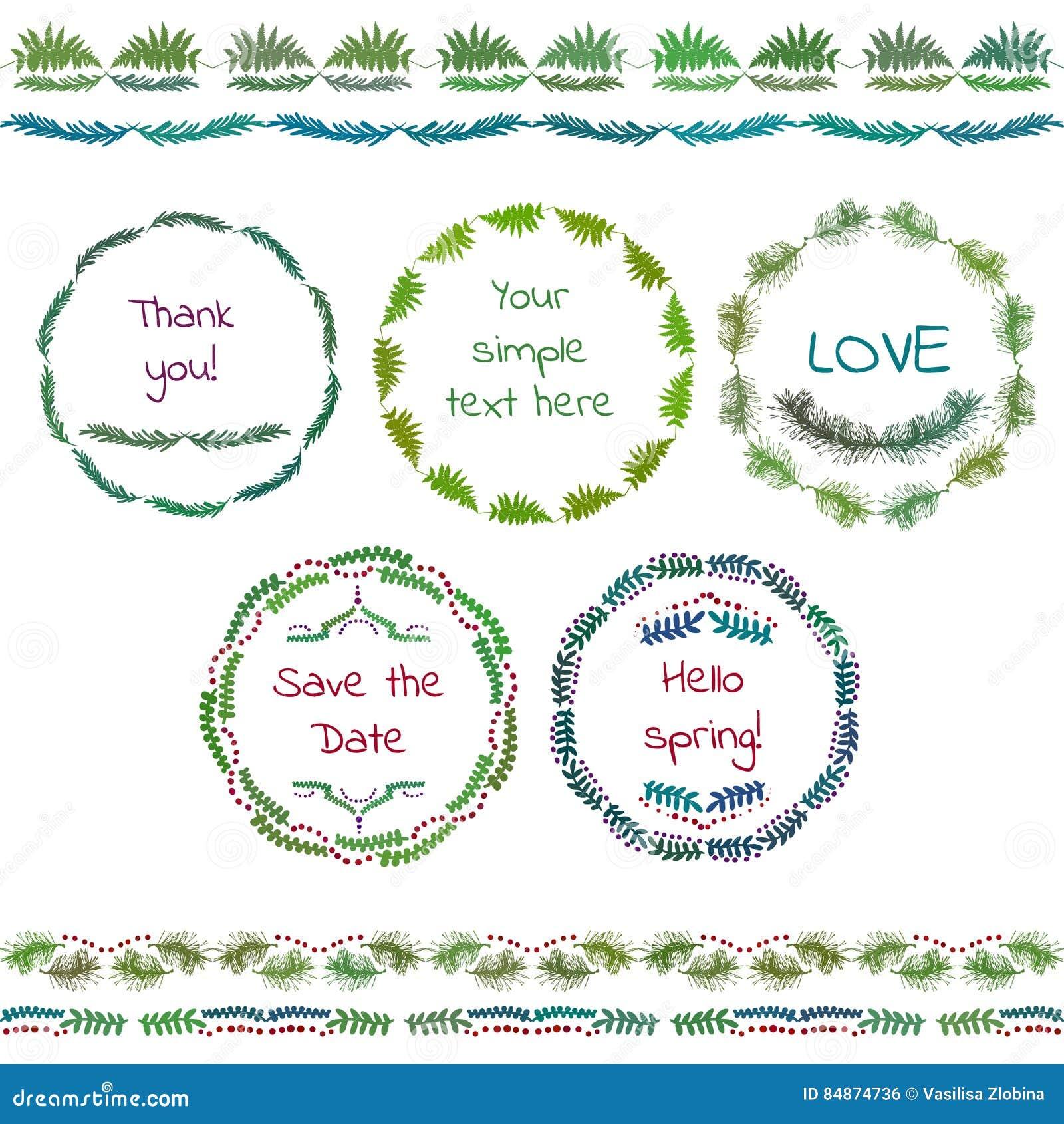 la mano rstica bosquej el sistema de elementos de la boda garabatos florales hojas ramas flores pjaros laureles banderas