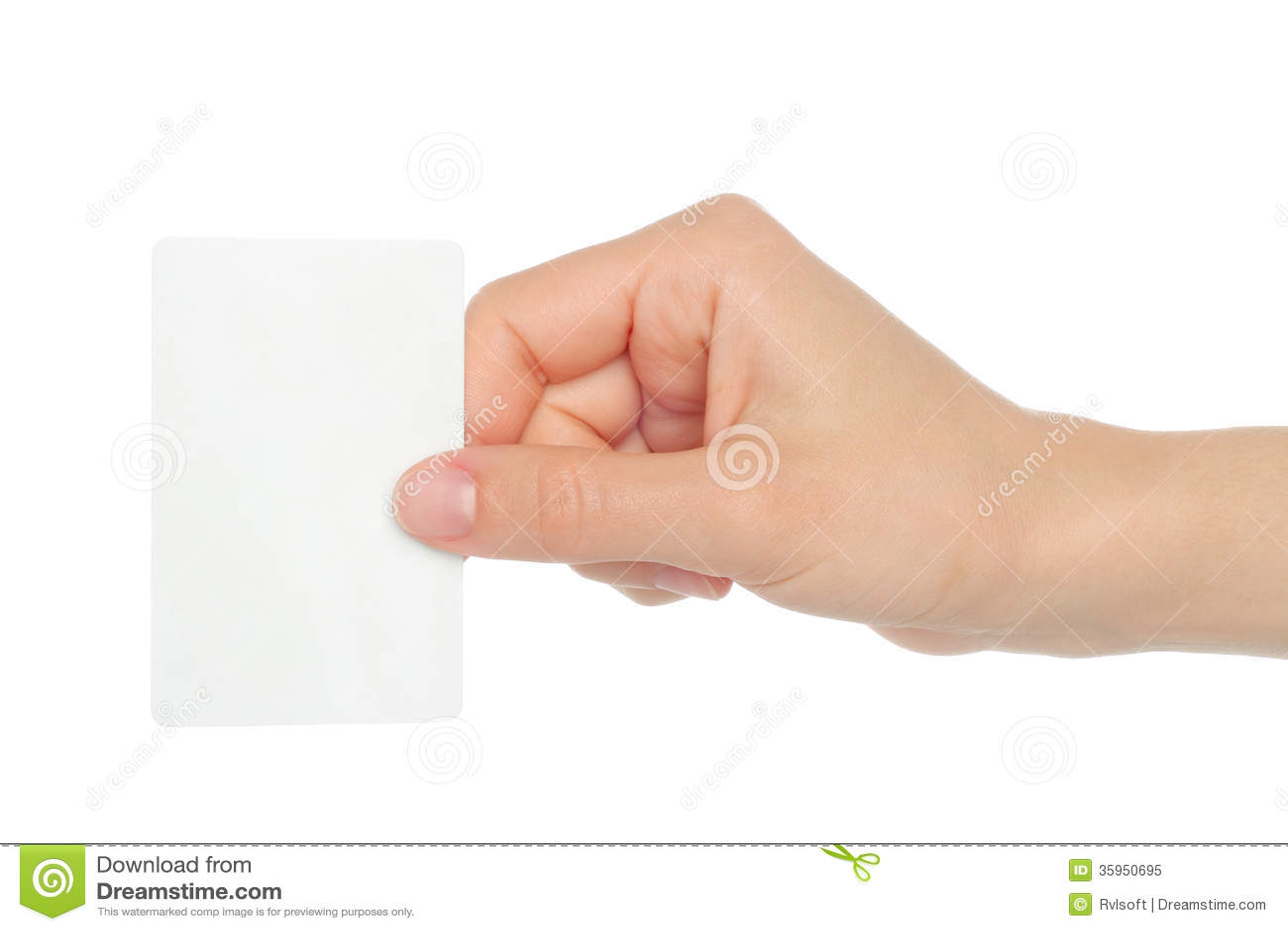 La mano sostiene la tarjeta de visita