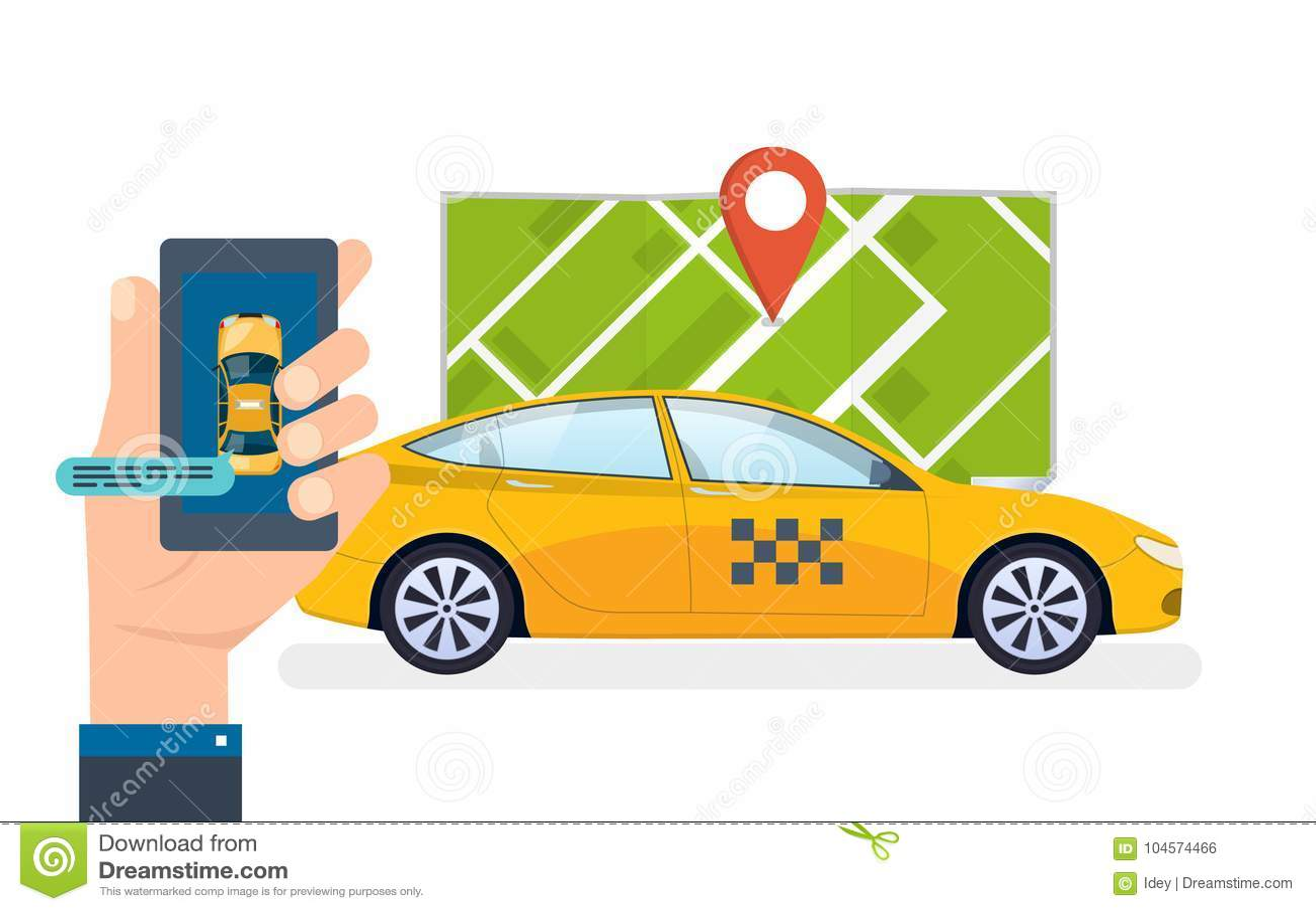 La Mano Sostiene Smartphone Servicio El Ordenar Del Taxi, Llamando ...