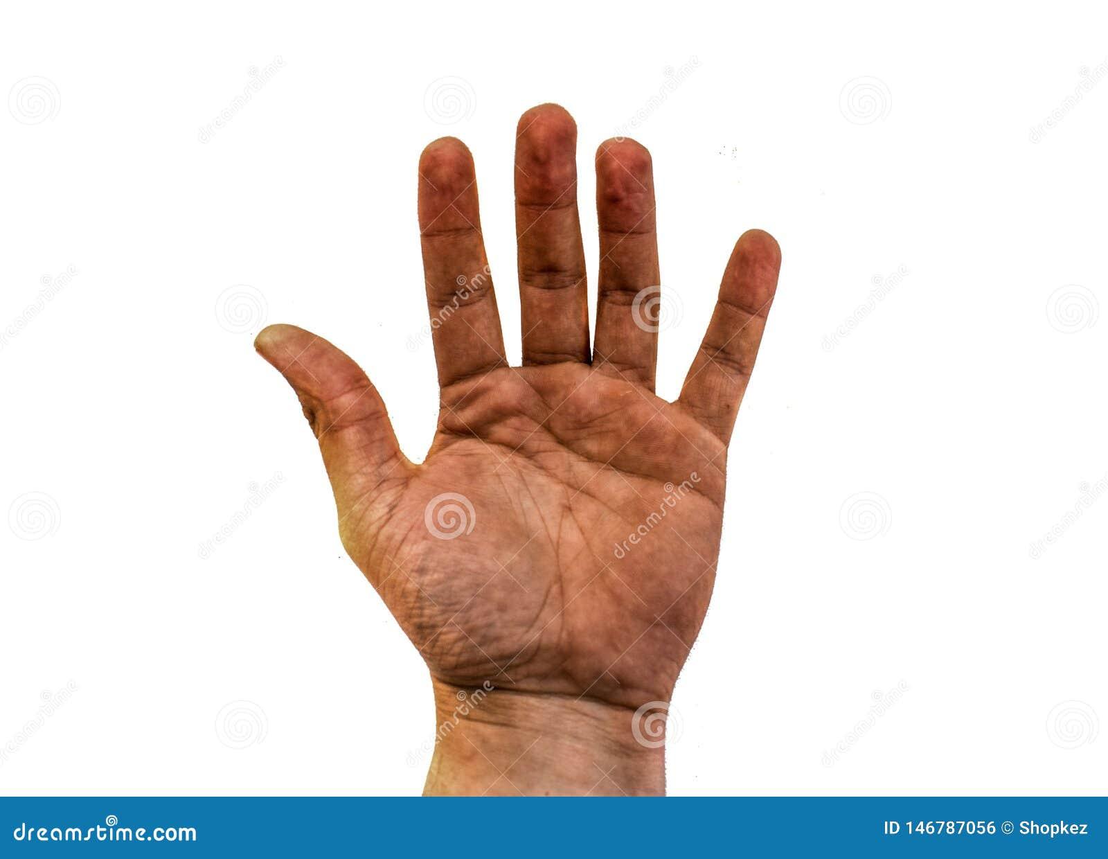 La mano sporca aperta dell uomo isolata su fondo bianco