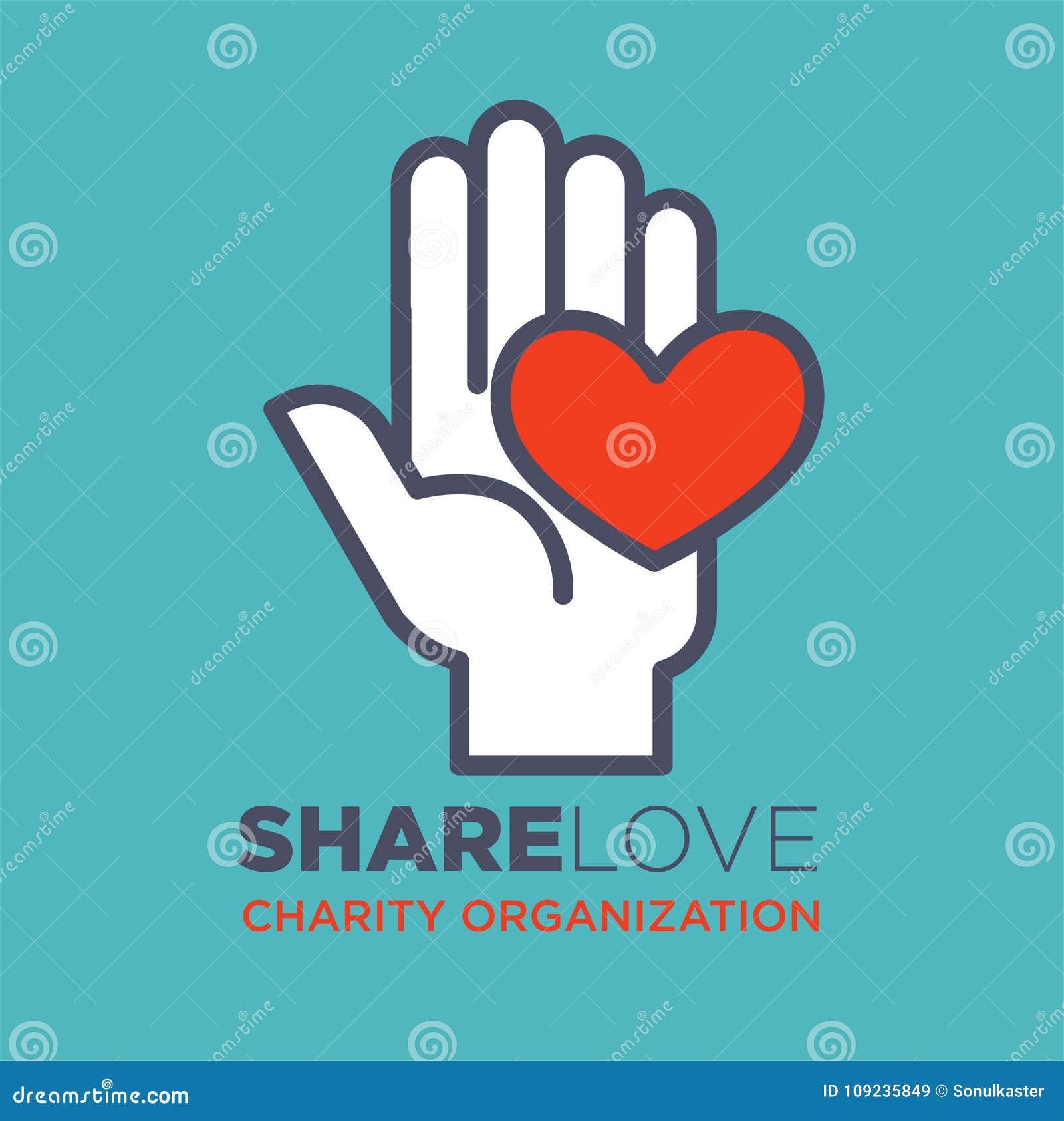 La mano y concepto social de la organización del amor y de la caridad del corazón vector el icono plano