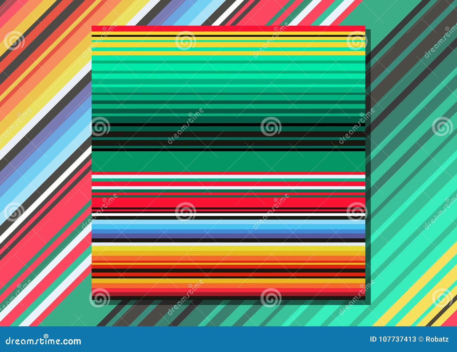 La manta mexicana raya el modelo inconsútil del vector Tela tejida colorida típica de America Central