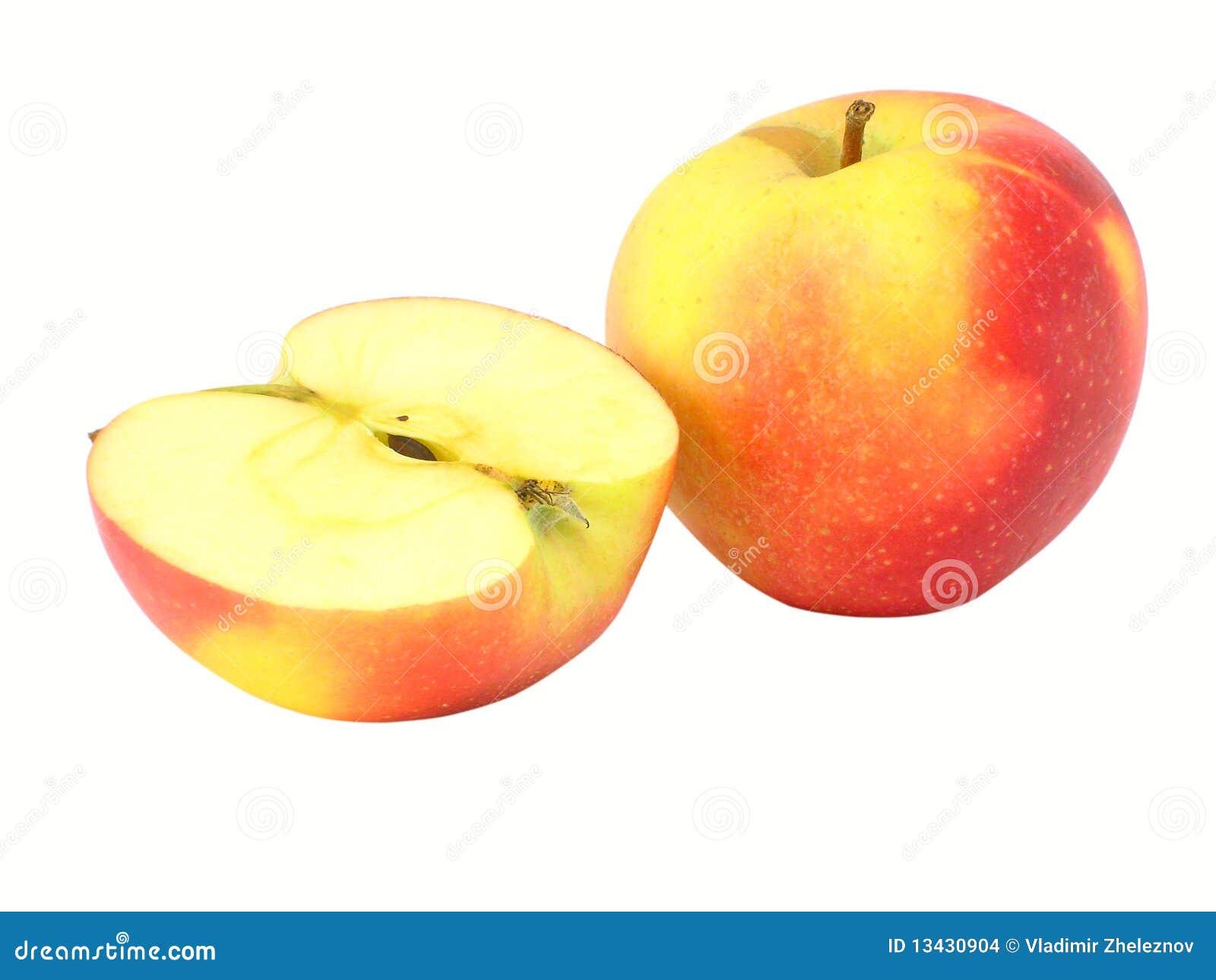 La manzana y la mitad enteras del appl