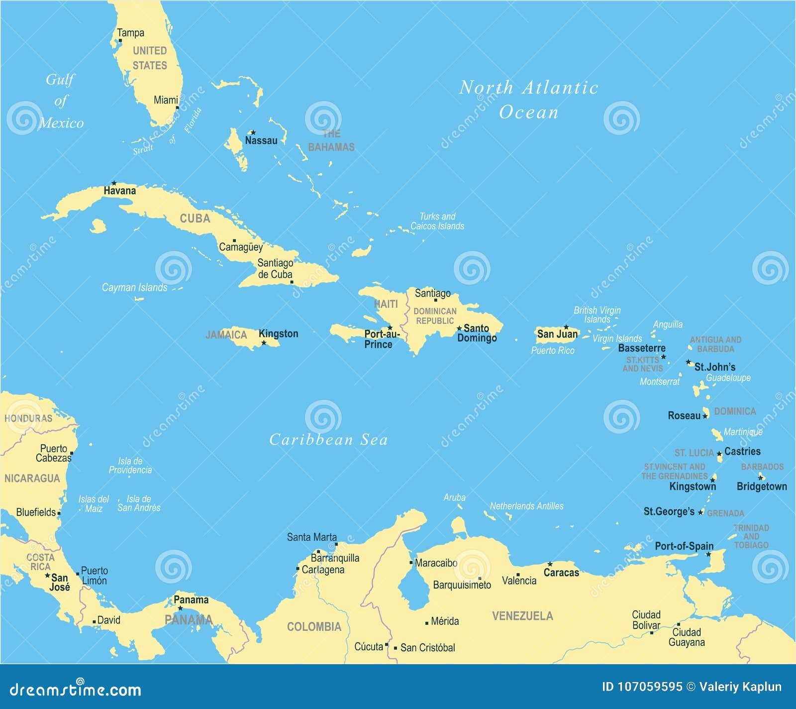 La mappa caraibica - illustrazione di vettore