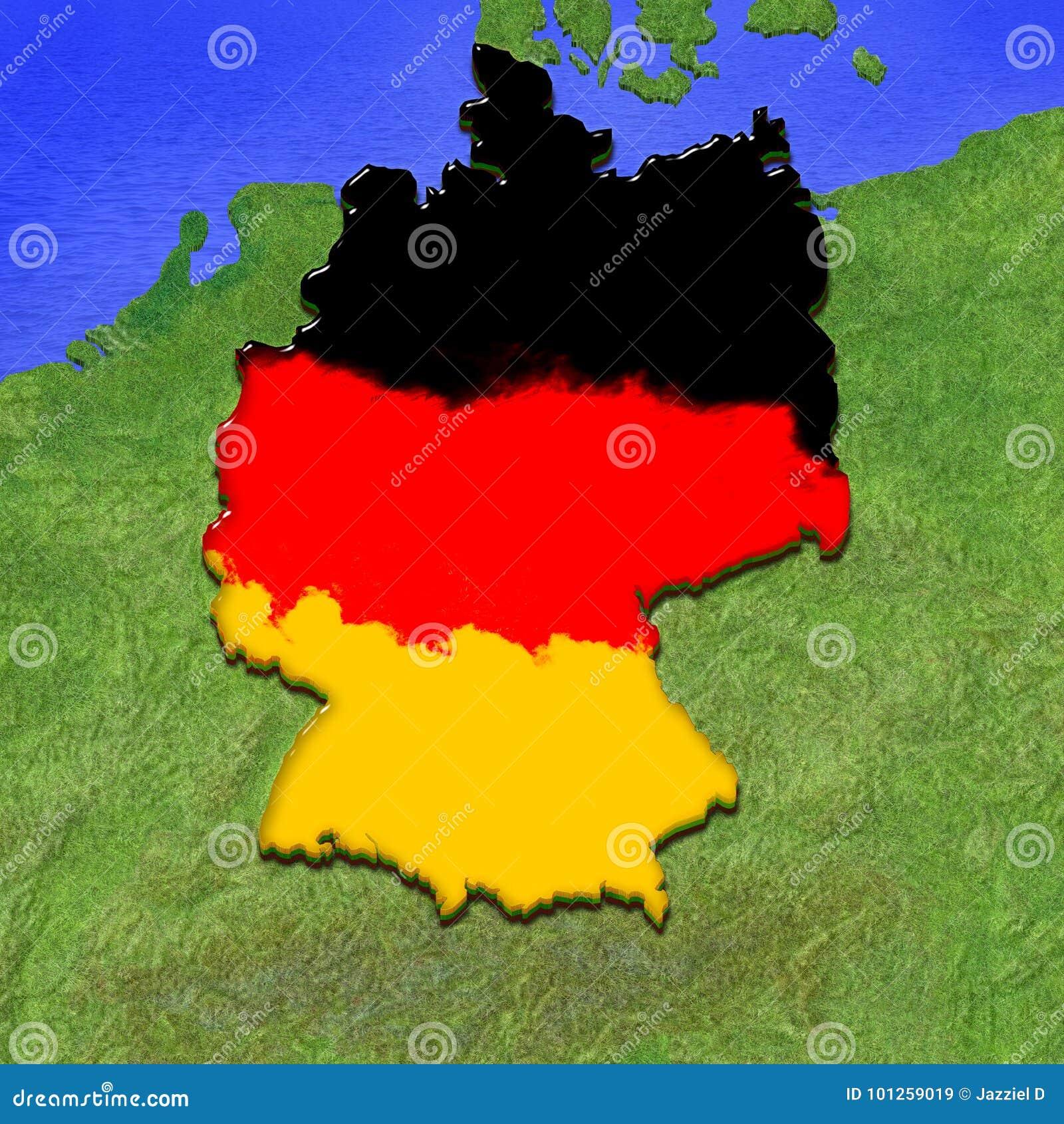 La mappa 3d della germania ha dipinto nei colori della - Bandiera della pagina di colorazione della germania ...