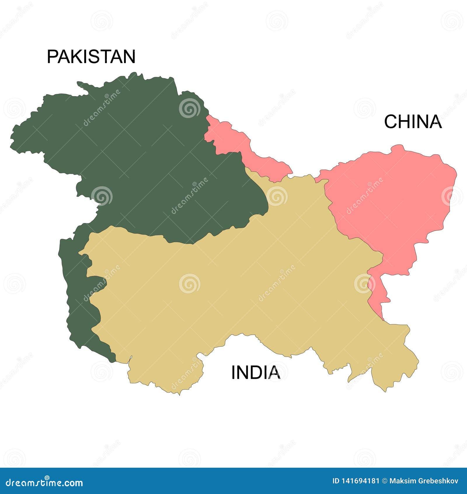 Cartina Muta Del Subcontinente Indiano.La Mappa Del Kashmir E Una Regione Geografica Illustrazione Di Stock Illustrazione Di Pakistano Asia 141694181