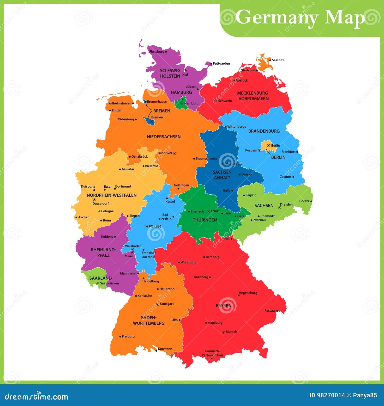 Regioni Germania Cartina.La Mappa Dettagliata Della Germania Con Le Regioni O Stati E Citta Capitali Illustrazione Vettoriale Illustrazione Di Naturalizzisi Terra 98270014