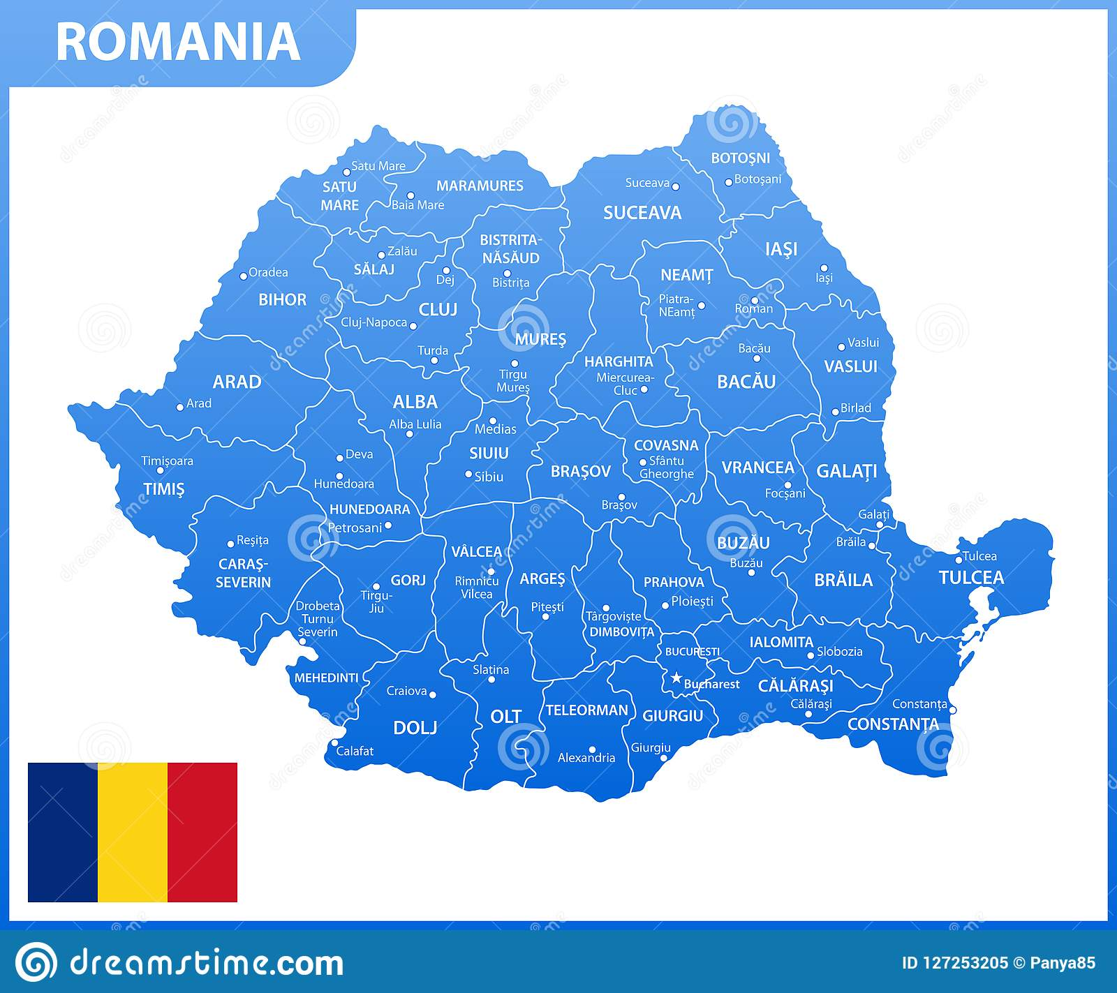 Cartina Romania Regioni.La Mappa Dettagliata Della Romania Con Le Regioni O Stati E Citta Capitale Divisione Amministrativa Illustrazione Vettoriale Illustrazione Di Dettagliata Capitale 127253205