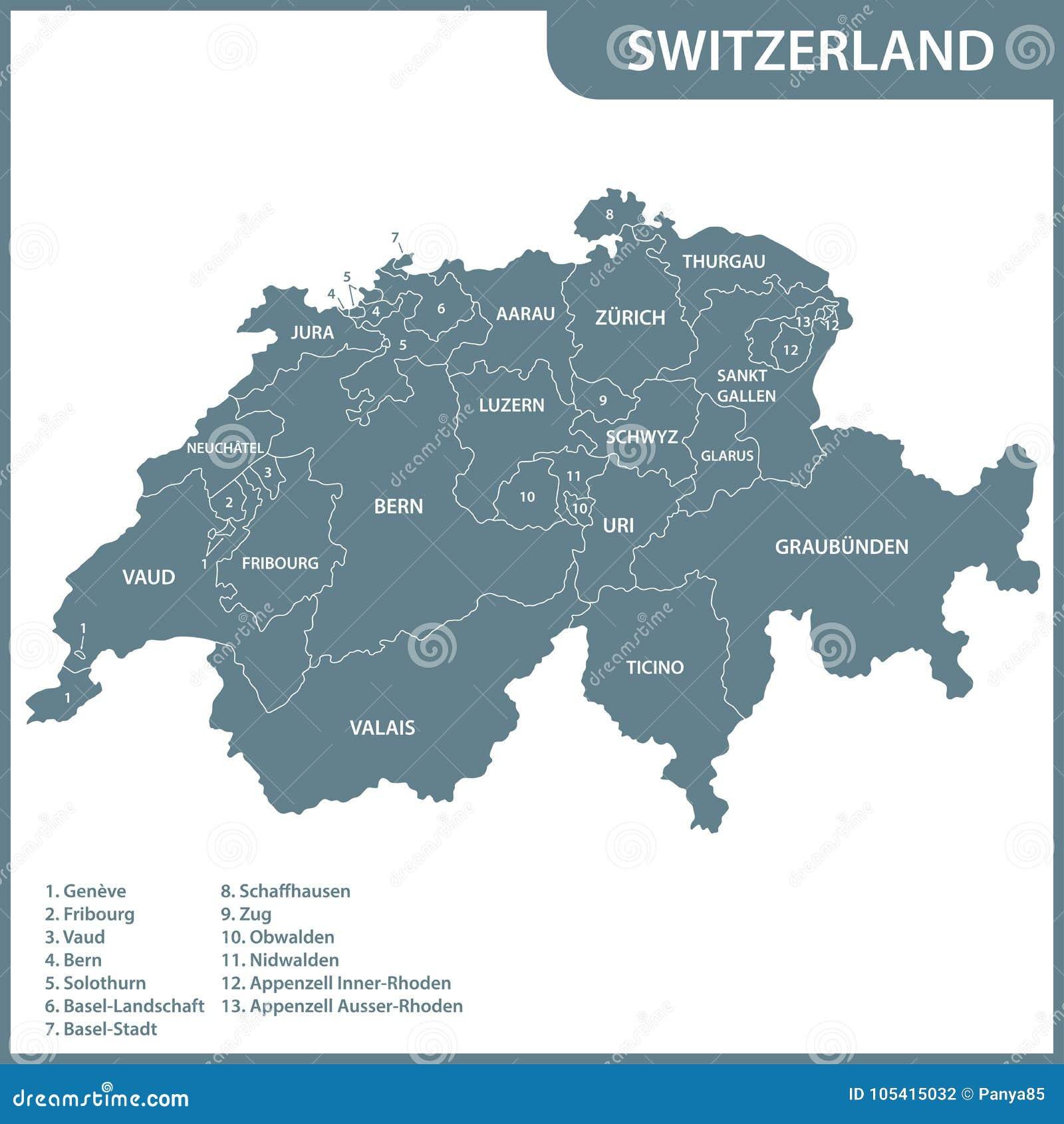 Dettagliata Cartina Della Svizzera.La Mappa Dettagliata Della Svizzera Con Le Regioni O Gli Stati Illustrazione Vettoriale Illustrazione Di Regione Tracciato 105415032