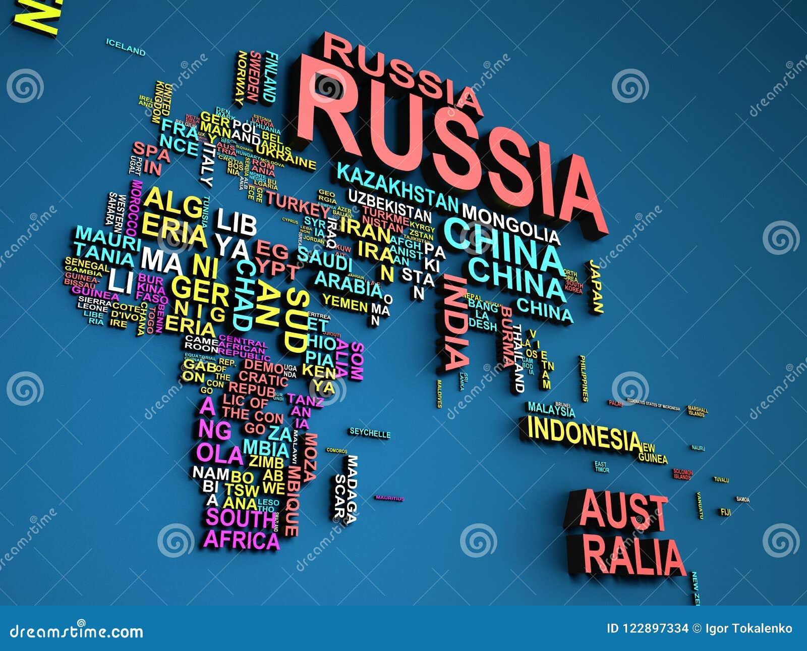 Cartina Mondo Con Nomi Stati.La Mappa Di Mondo Con Tutti Stati E La Loro Illustrazione Di Nomi 3d Sopra Illustrazione Di Stock Illustrazione Di Orizzontale Paesi 122897334