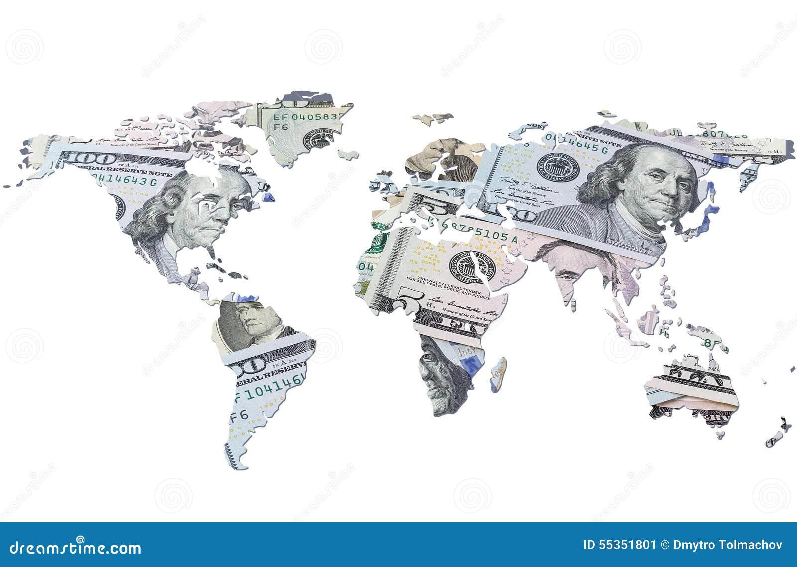 La mappa di mondo fatta con le banconote in dollari