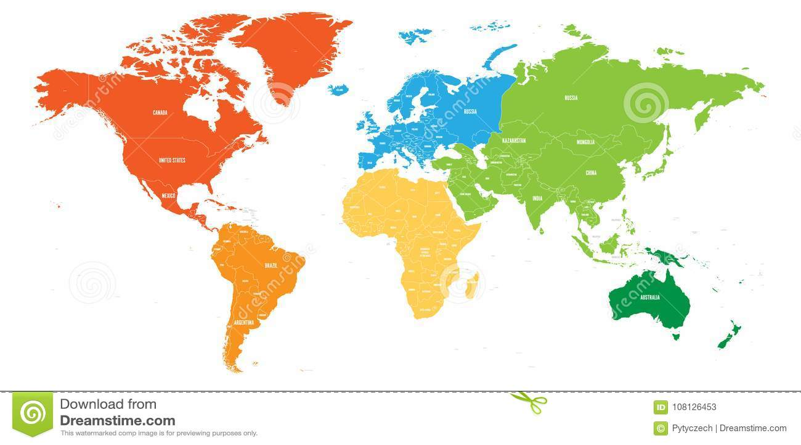 La mappa di mondo si è divisa in sei continenti Ogni continente nel colore differente Illustrazione piana semplice di vettore
