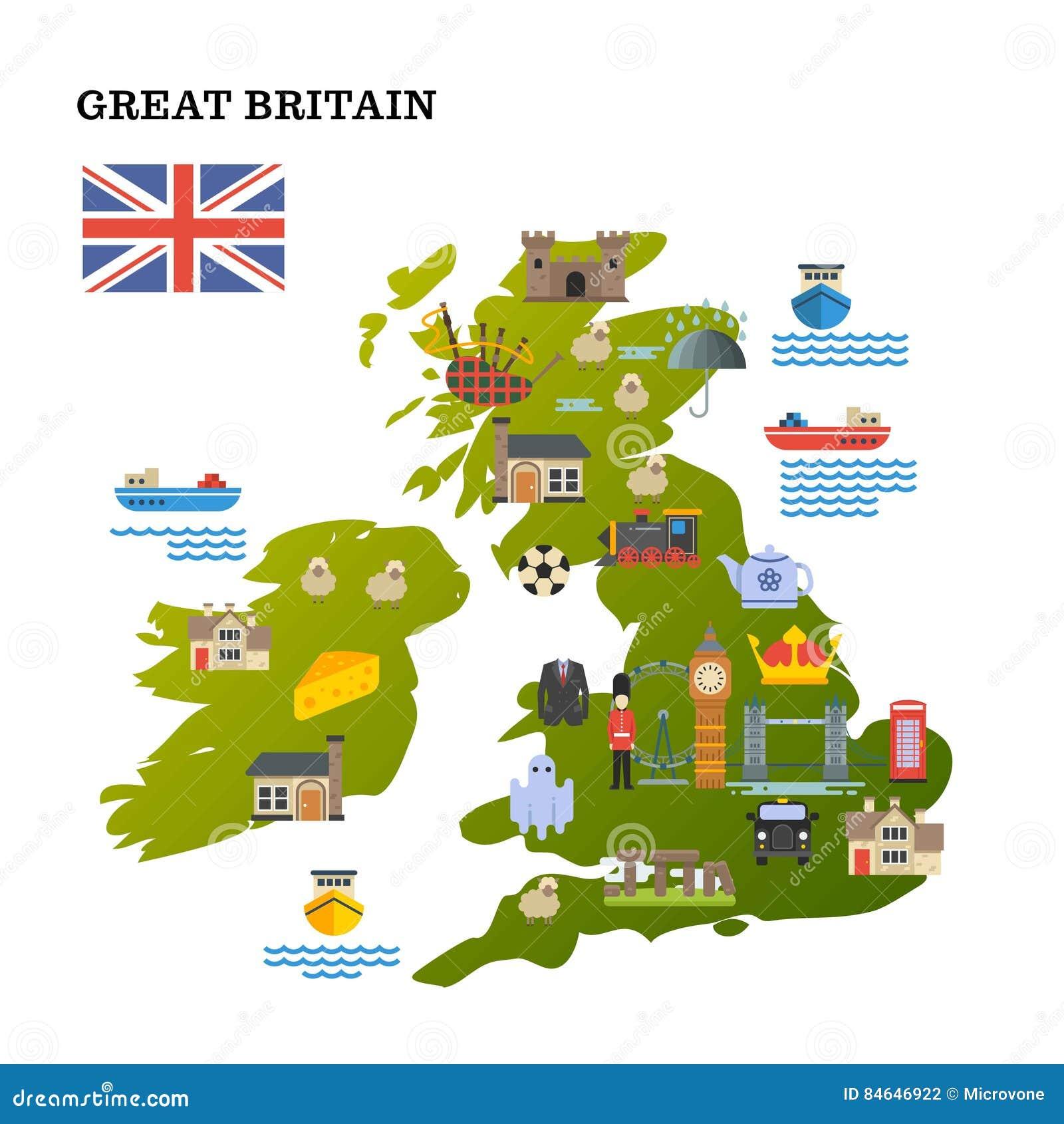 La mappa di viaggio del Regno Unito con le icone del punto di riferimento vector l illustrazione