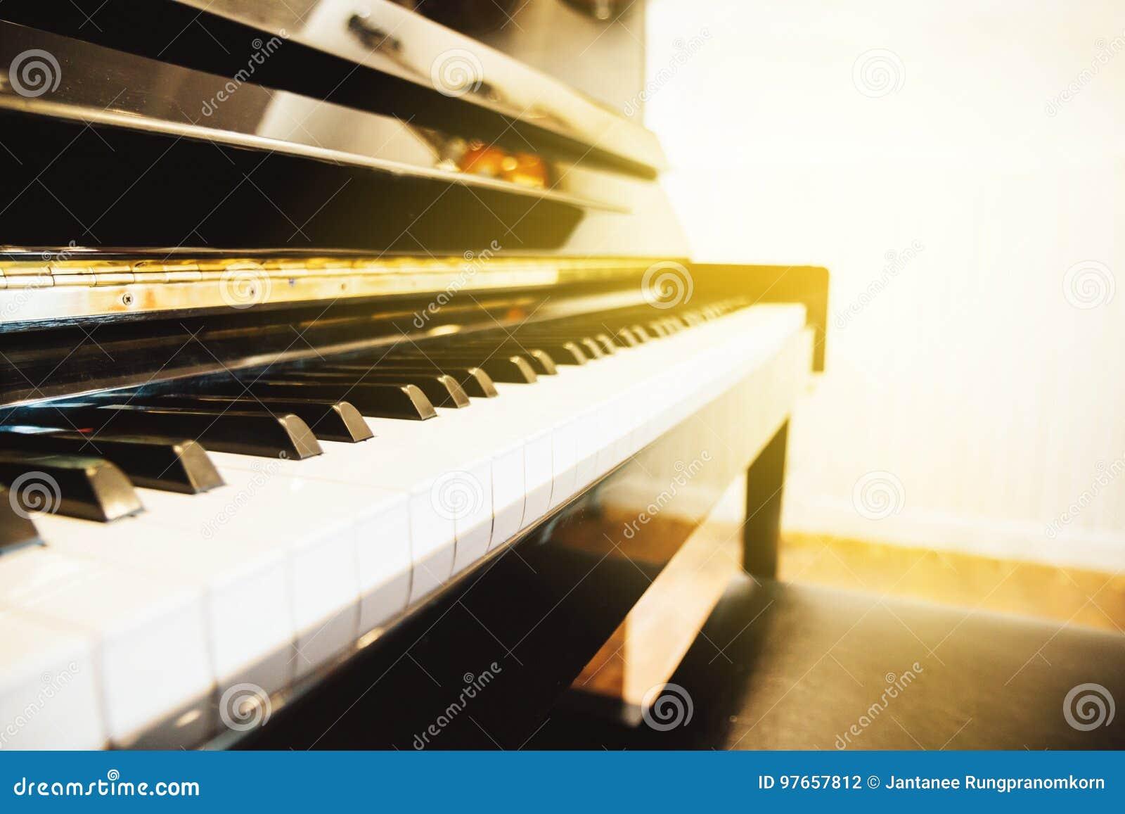 La marfil blanca y los claves negros de un piano