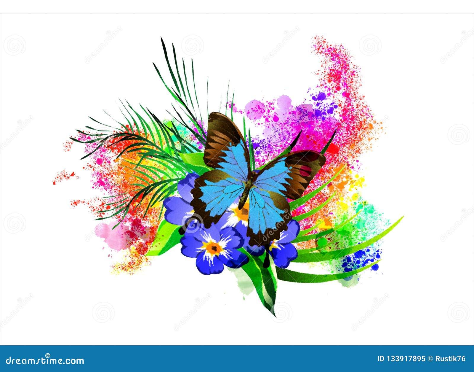 La mariposa con una flor en el fondo del arco iris salpica