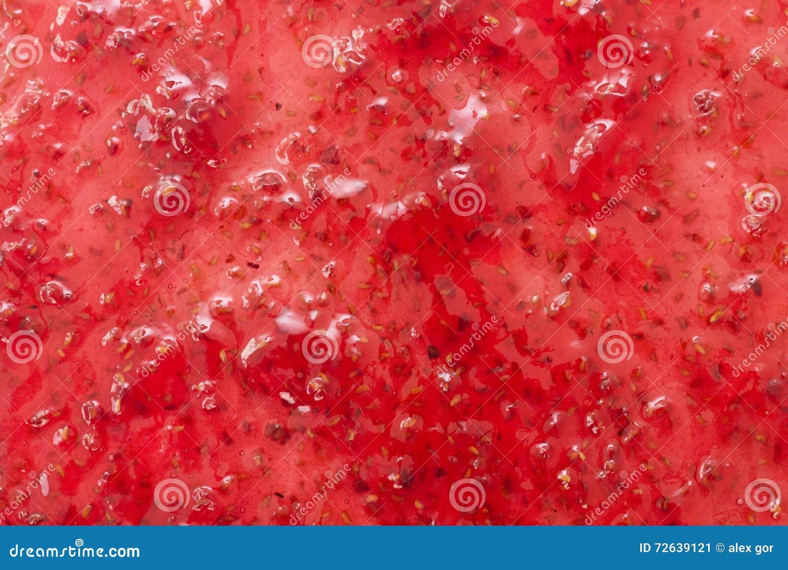La masse homogène de la confiture, vue de surface plane