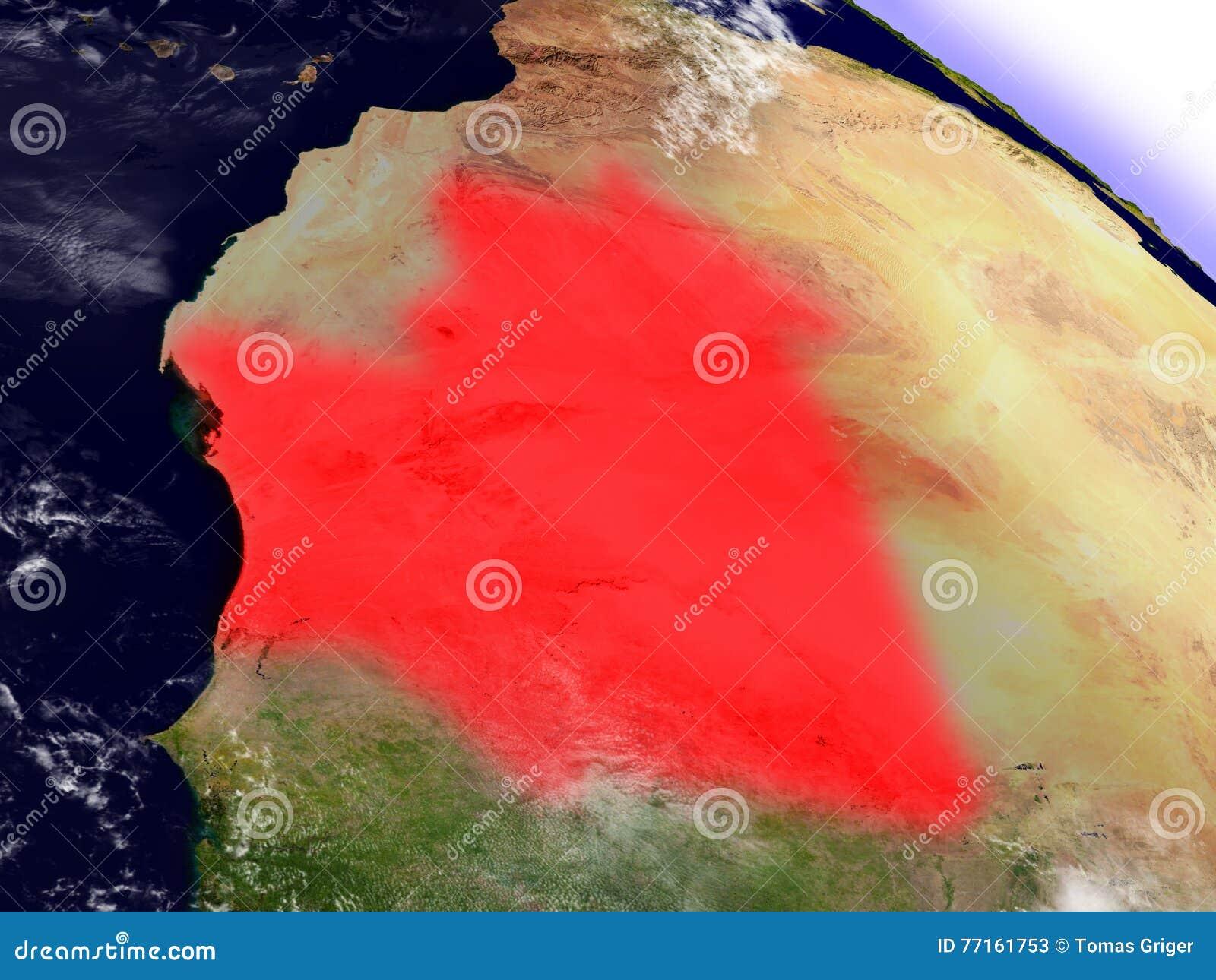 La Mauritanie de l espace accentué en rouge
