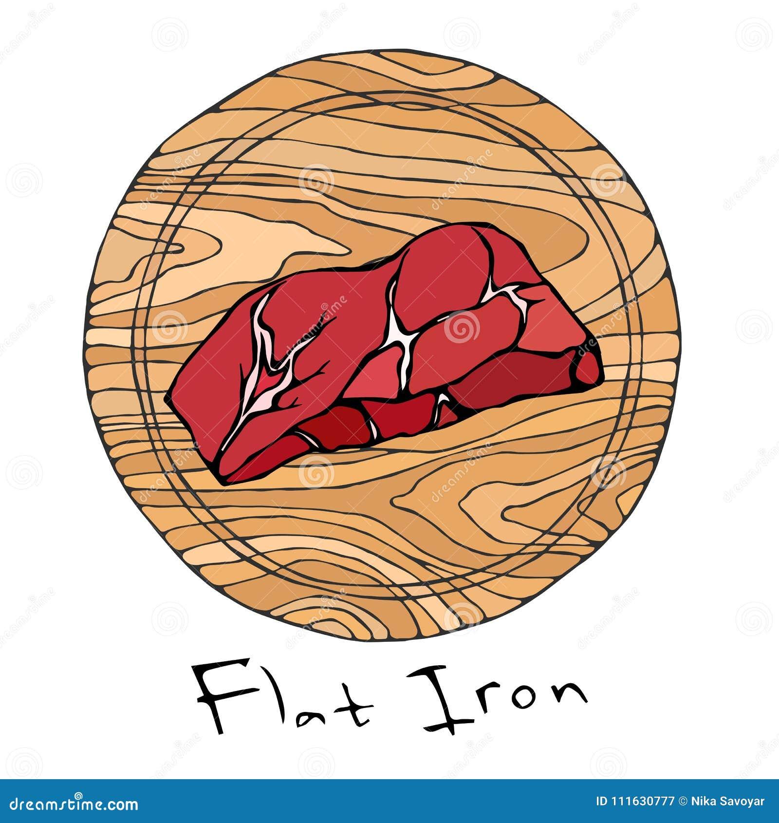 La mayoría del hierro plano del filete popular en una tabla de cortar de madera redonda Corte de la carne de vaca Guía de la carn