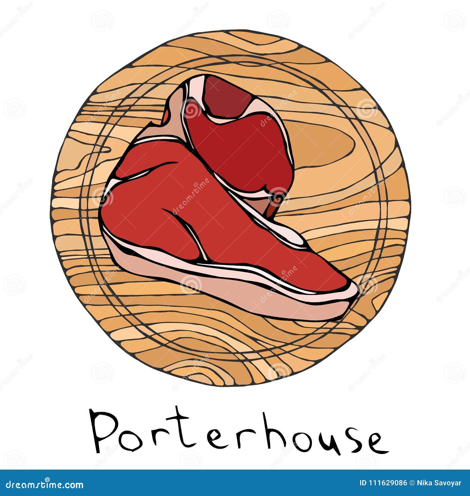 La mayoría del Porterhouse popular del filete en una tabla de cortar de madera redonda Corte de la carne de vaca Guía de la carne