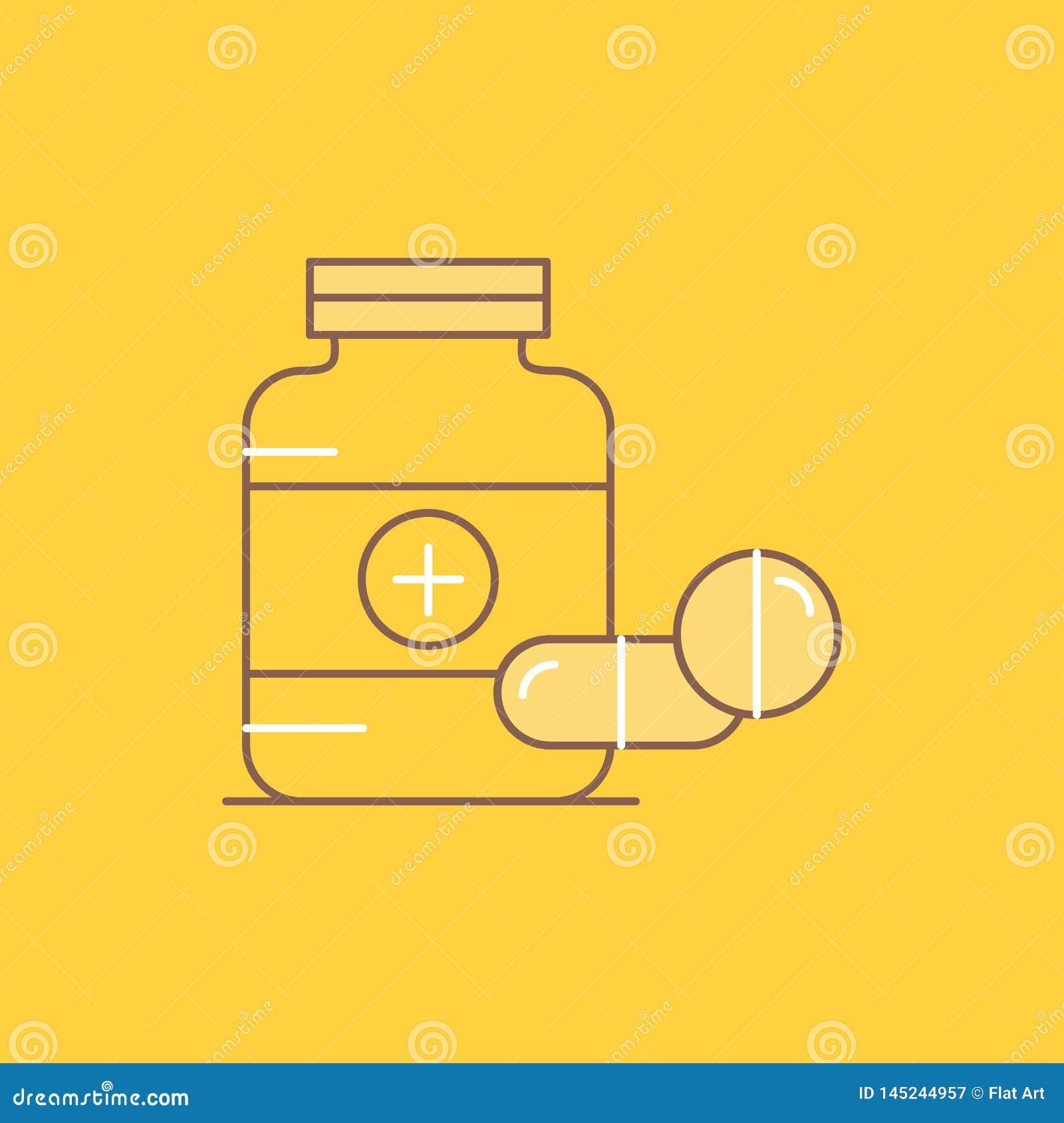 La medicina, p?ldora, c?psula, drogas, l?nea plana de la tableta llen? el icono Bot?n hermoso del logotipo sobre el fondo amarill
