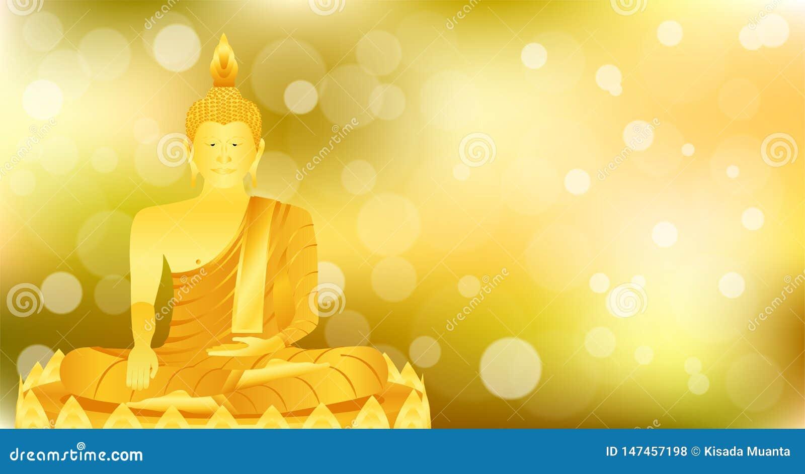 La meditación que se sienta de Buda del phra del monje en la base del loto del oro para ruega el lanzamiento compuesto concentrac