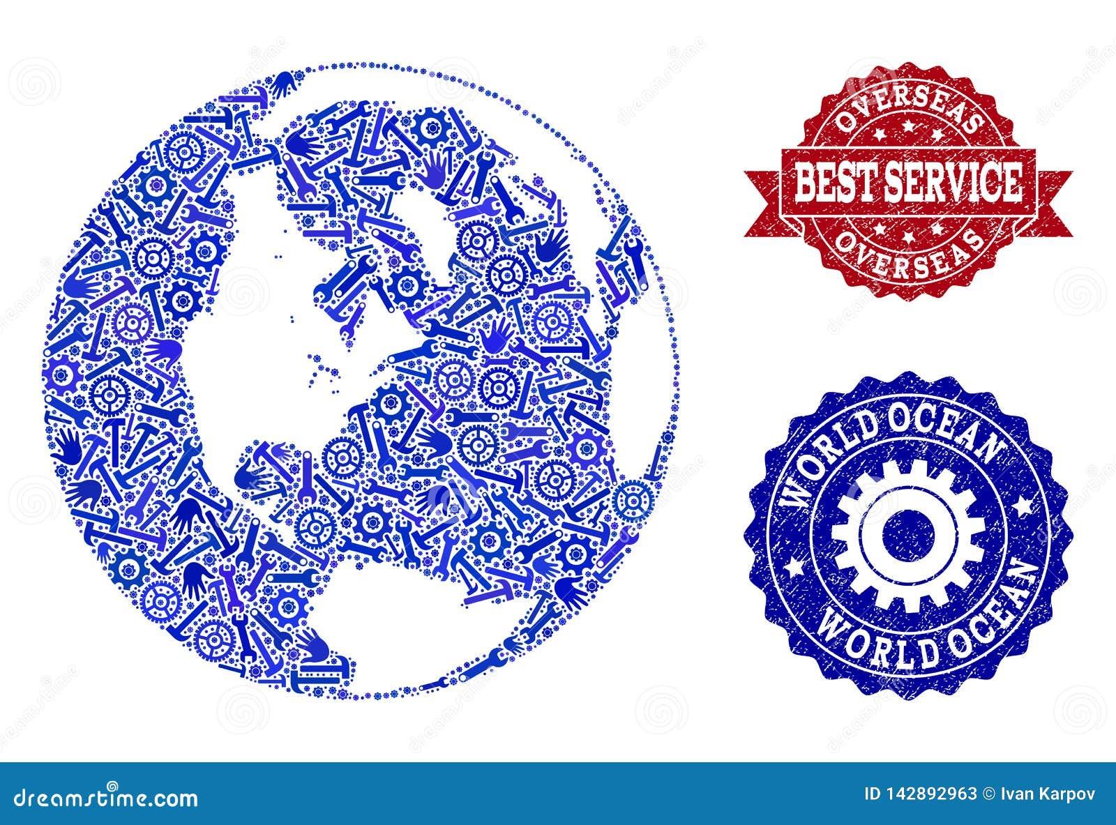 La mejor composición del servicio del mapa del océano global y de sellos rasguñados