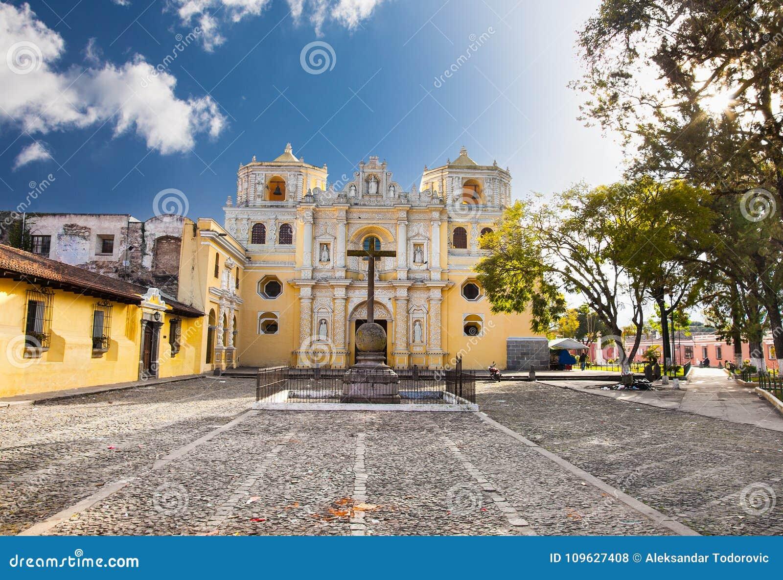 La Merced church in central of Antigua, Guatemala.