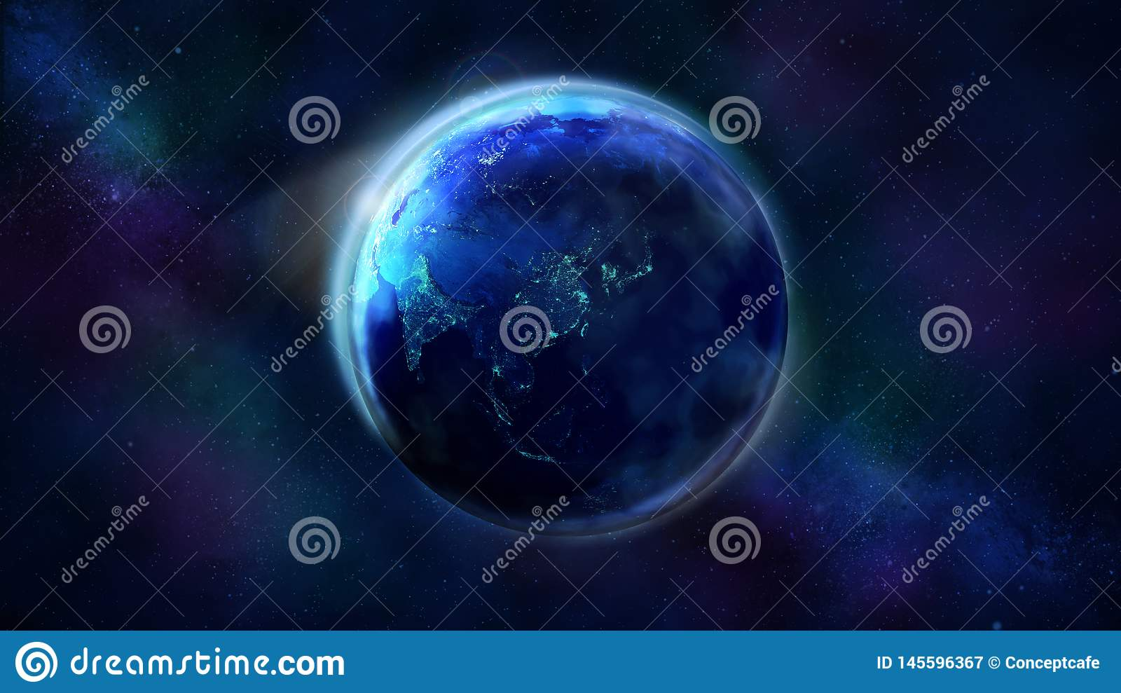 La metà di notte della terra da spazio che mostra l Asia, l Australia ed Oceania