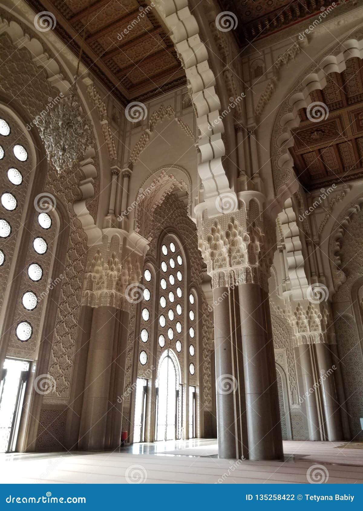 La mezquita de Hassan II - detalles hermosos de la arquitectura y de la decoración
