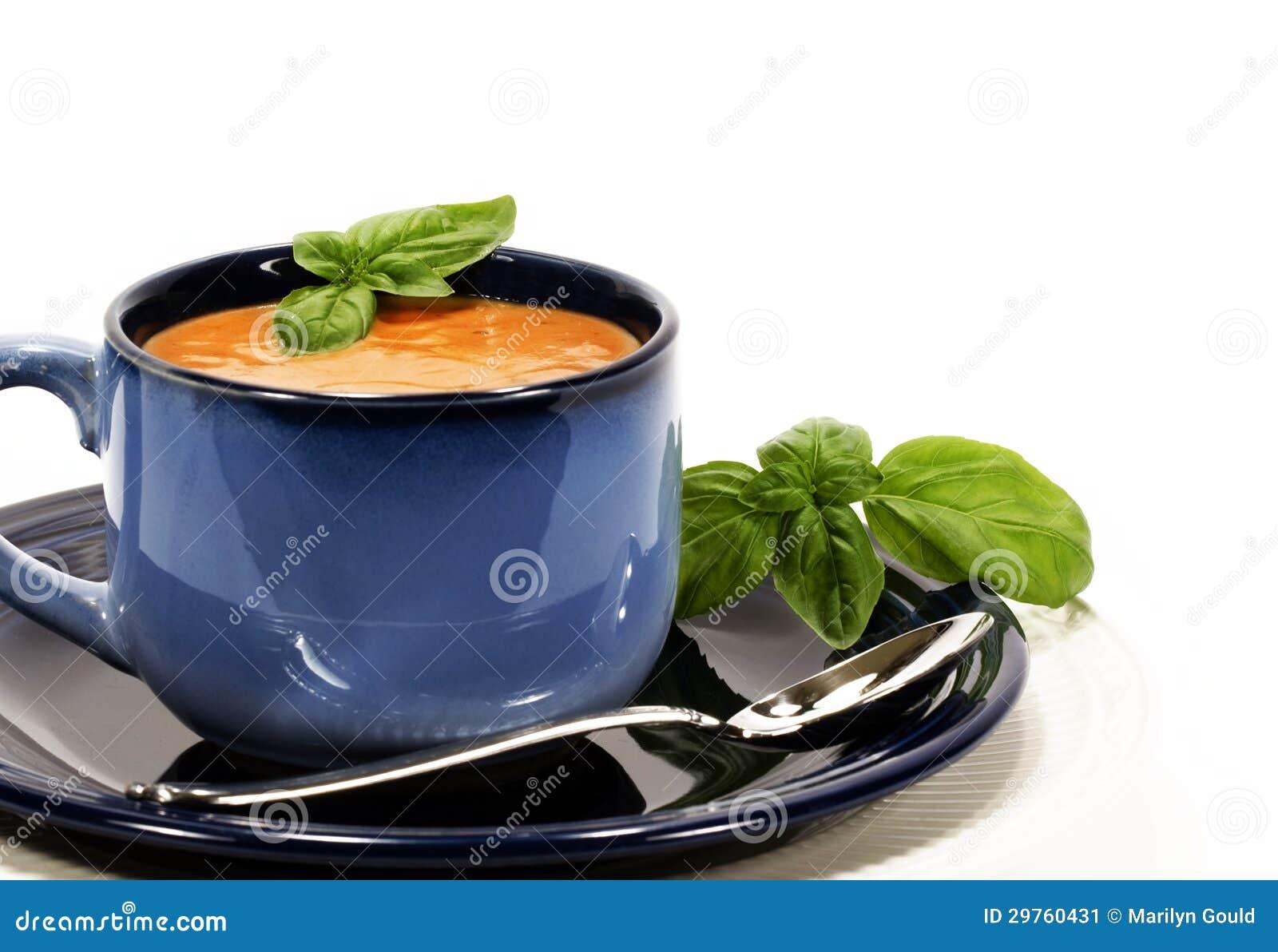 Basilico della minestra del pomodoro