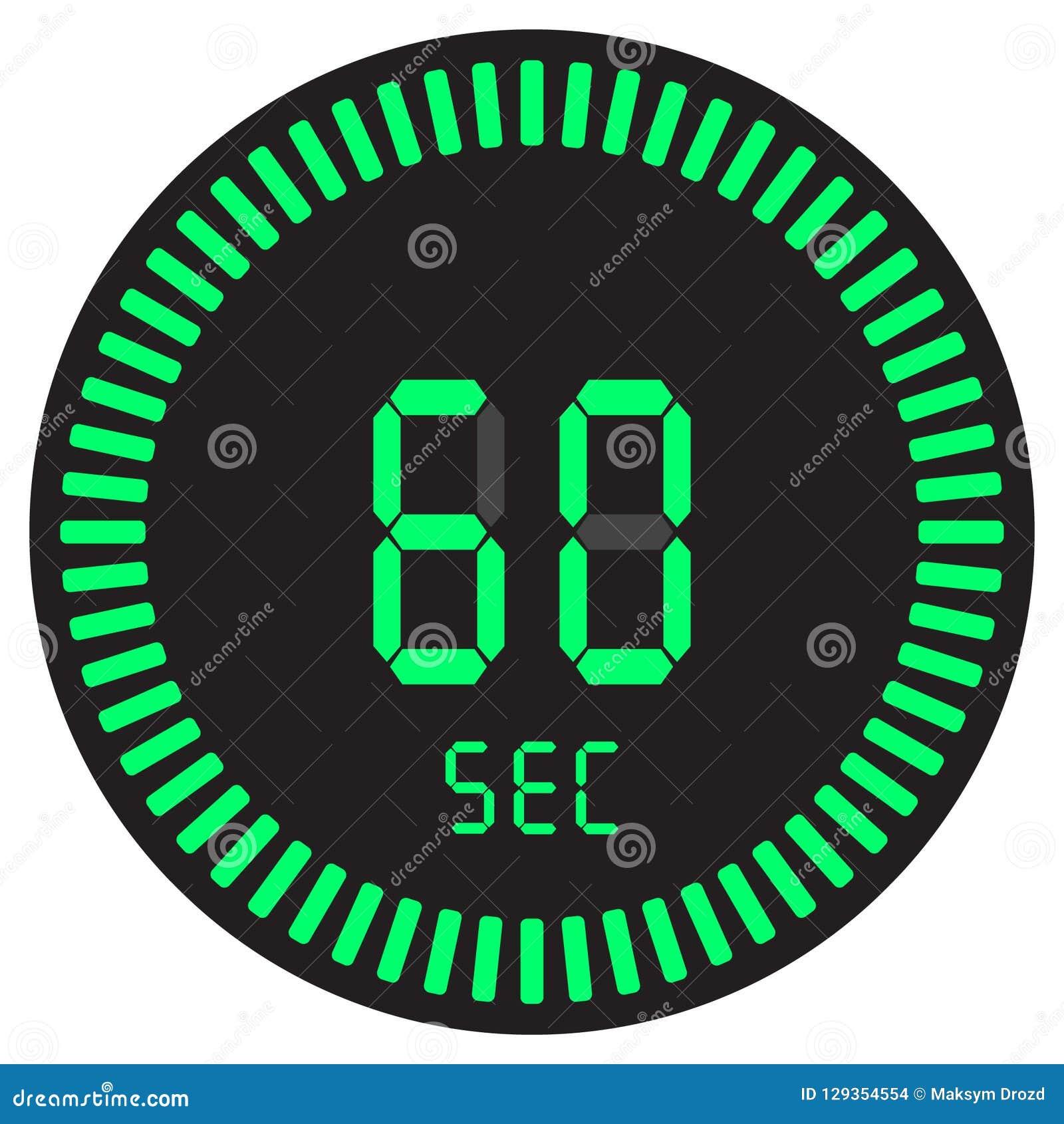 La minuterie numérique 60 secondes, 1 chronomètre minute et électronique avec un cadran de gradient commençant l icône de vecteur