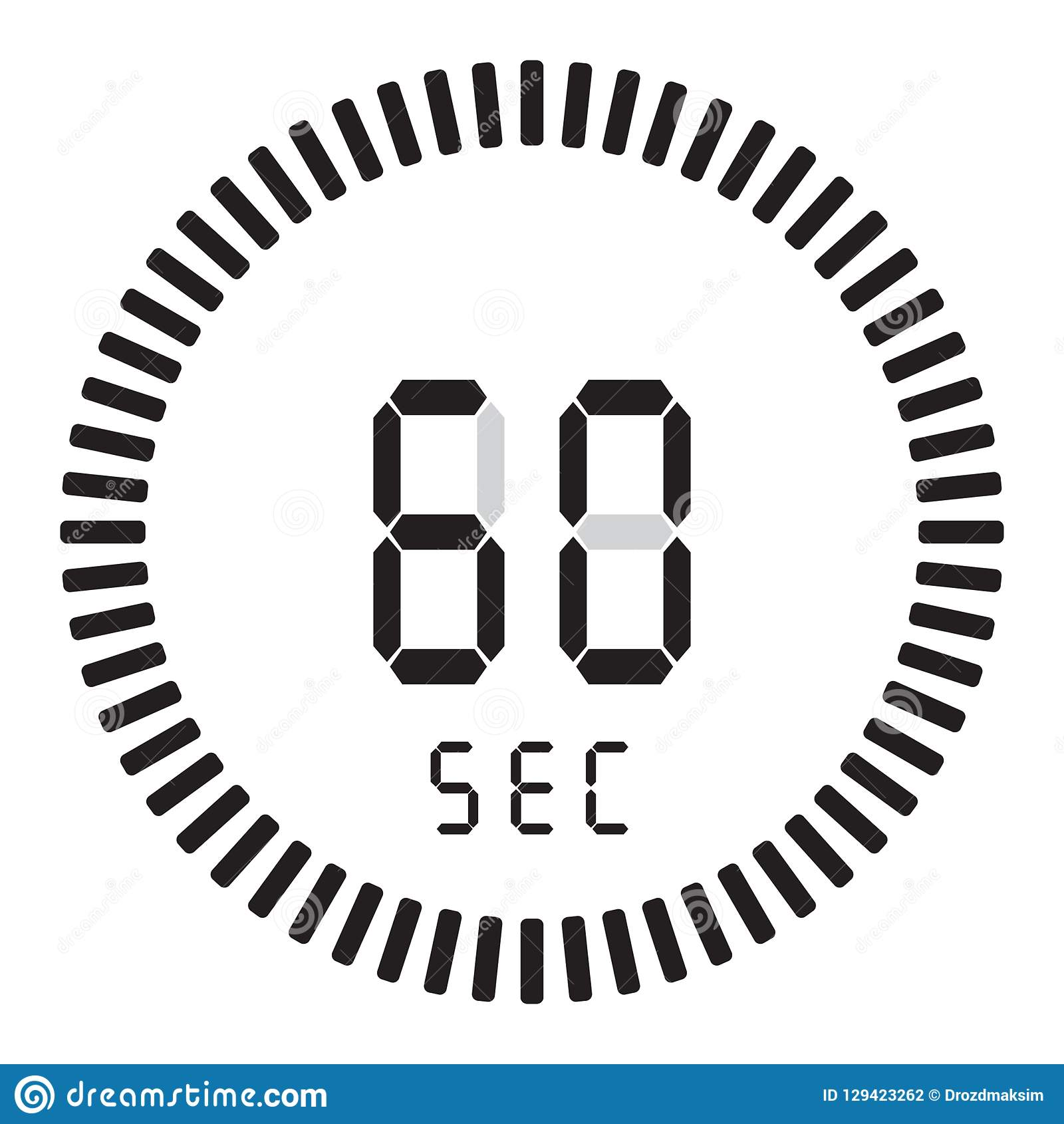 La minuterie numérique 60 secondes, 1 minute chronomètre électronique avec un cadran de gradient mettant en marche l icône de vec