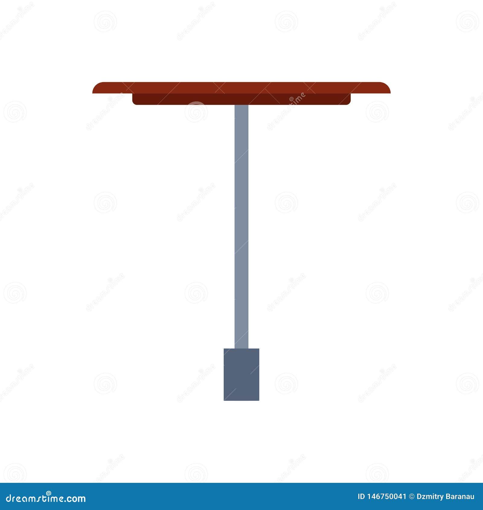 La mobilia dell icona di vettore di vista laterale della Tabella ha isolato interno Lo scrittorio vuoto dell elemento di affari d