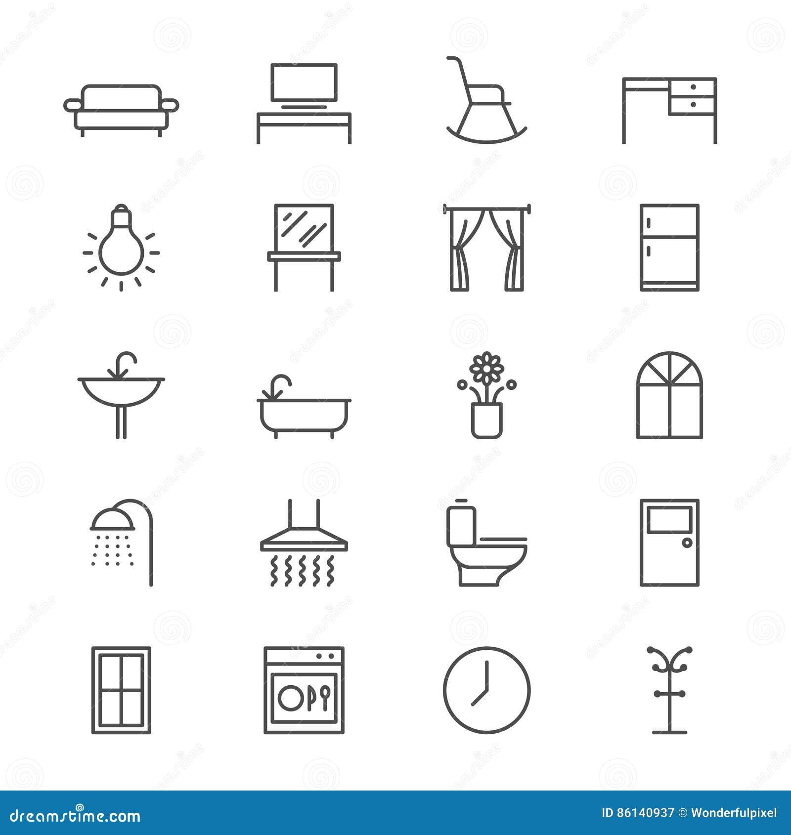 la mobilia domestica assottiglia le icone illustrazione
