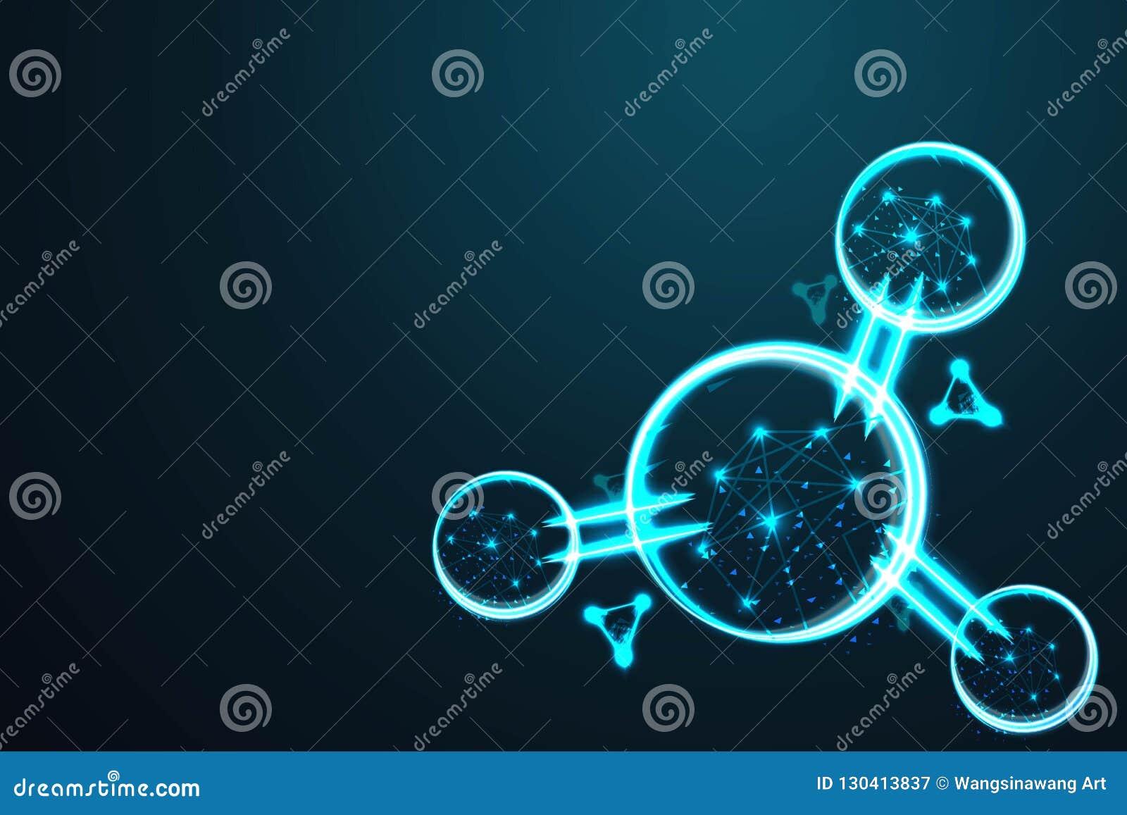 La molécula, malla polivinílica del alambre del extracto, poligonal baja del marco del alambre parece la constelación en el cielo