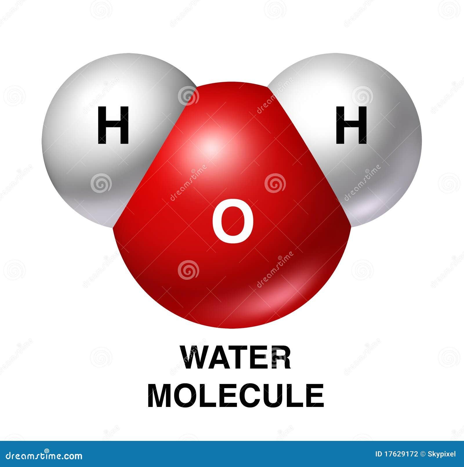 La molecola di acqua h2o ha isolato il wh di colore rosso dell idrogeno dell ossigeno