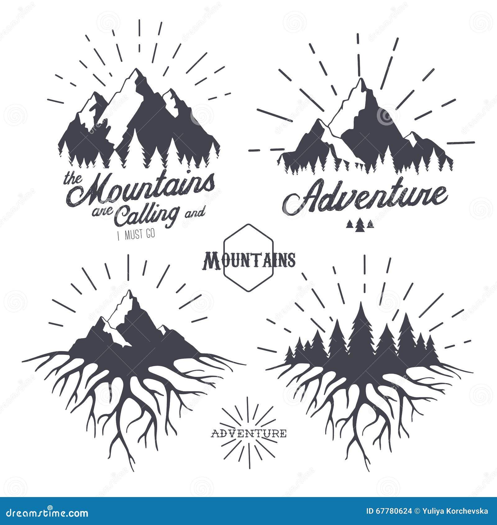 La Montaña Está Llamando Y Mast Voy Aventura Ilustración del Vector ...